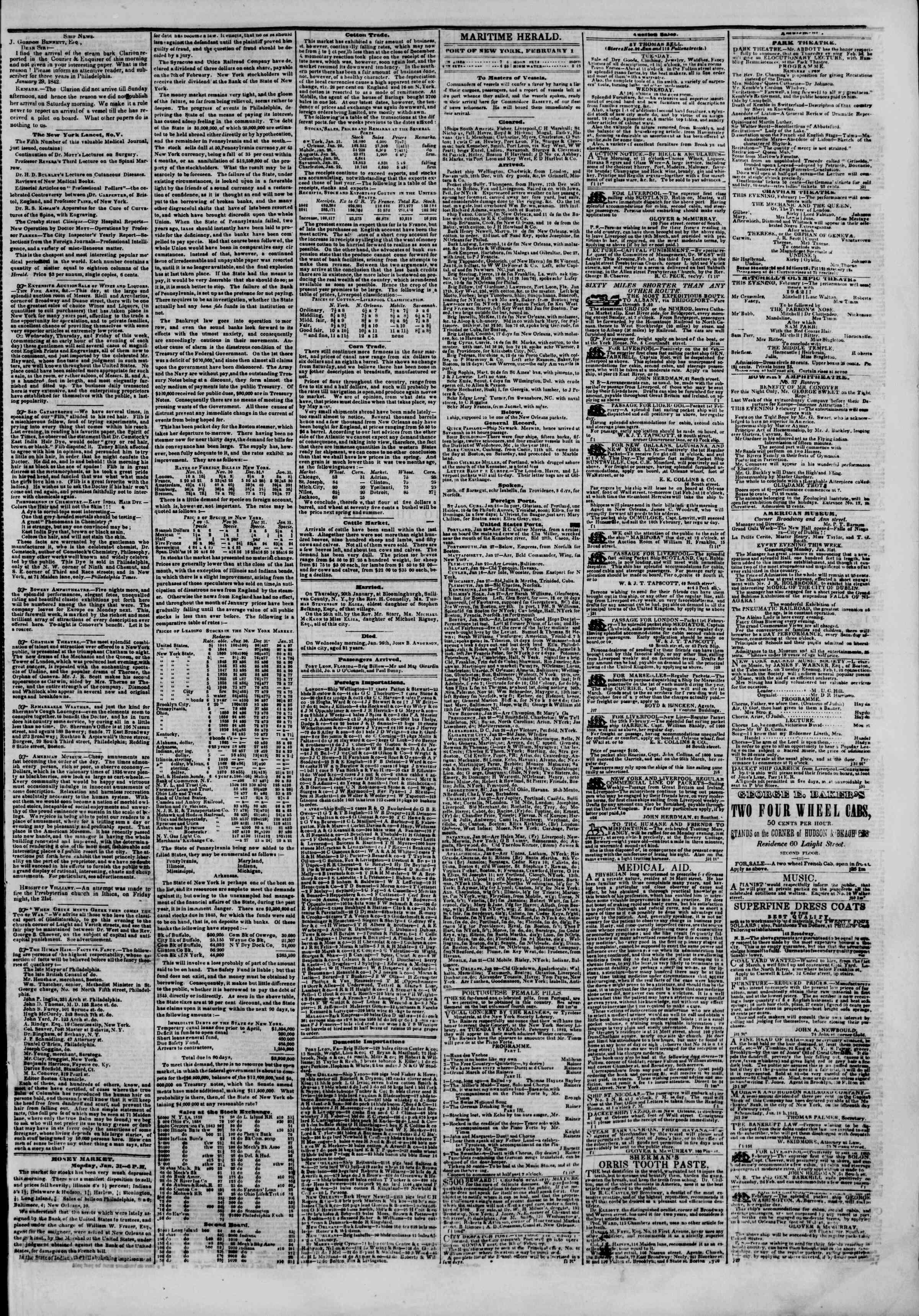 Newspaper of The New York Herald dated February 1, 1842 Page 5