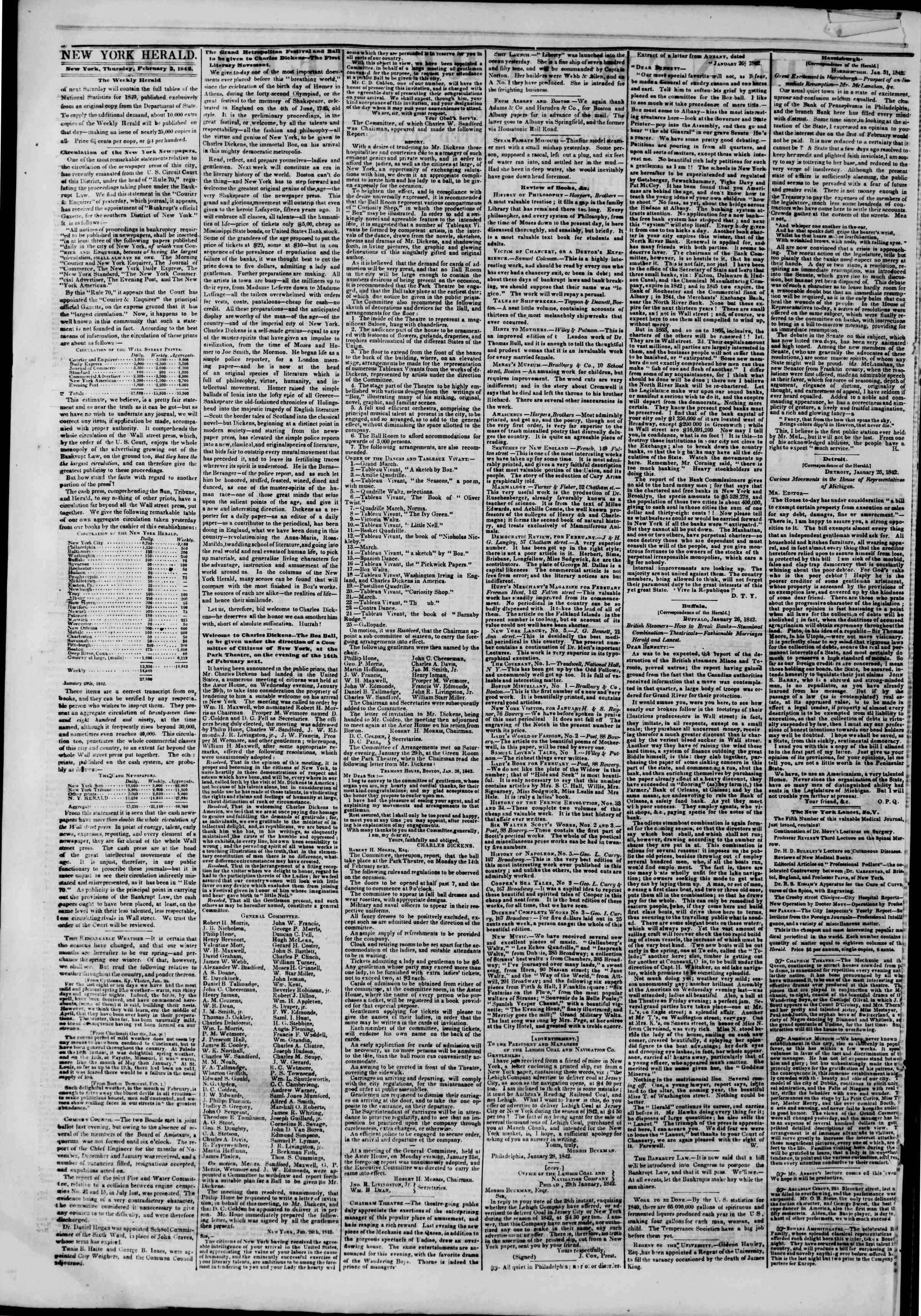 3 Şubat 1842 tarihli The New York Herald Gazetesi Sayfa 2