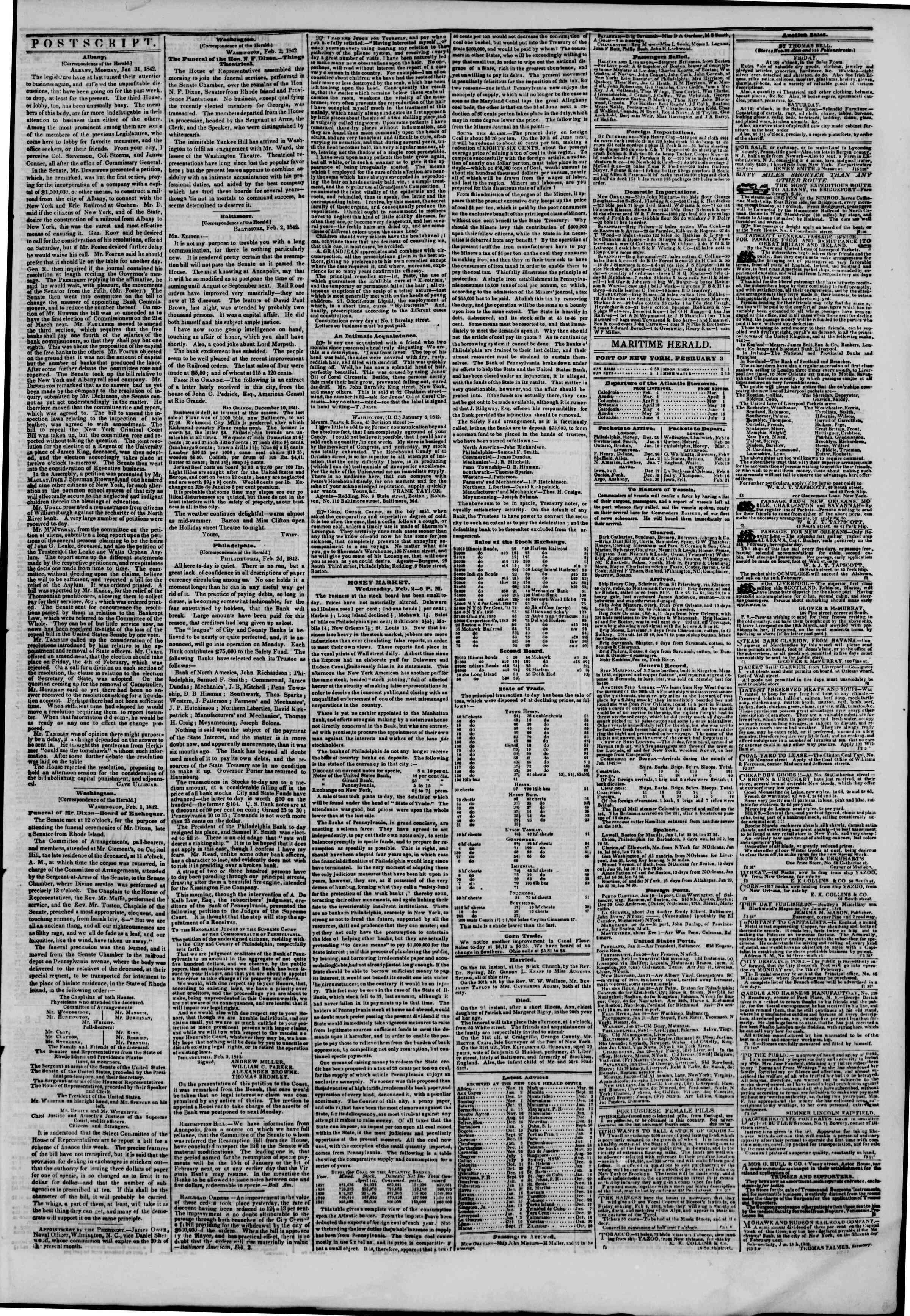 February 3, 1842 Tarihli The New York Herald Gazetesi Sayfa 3