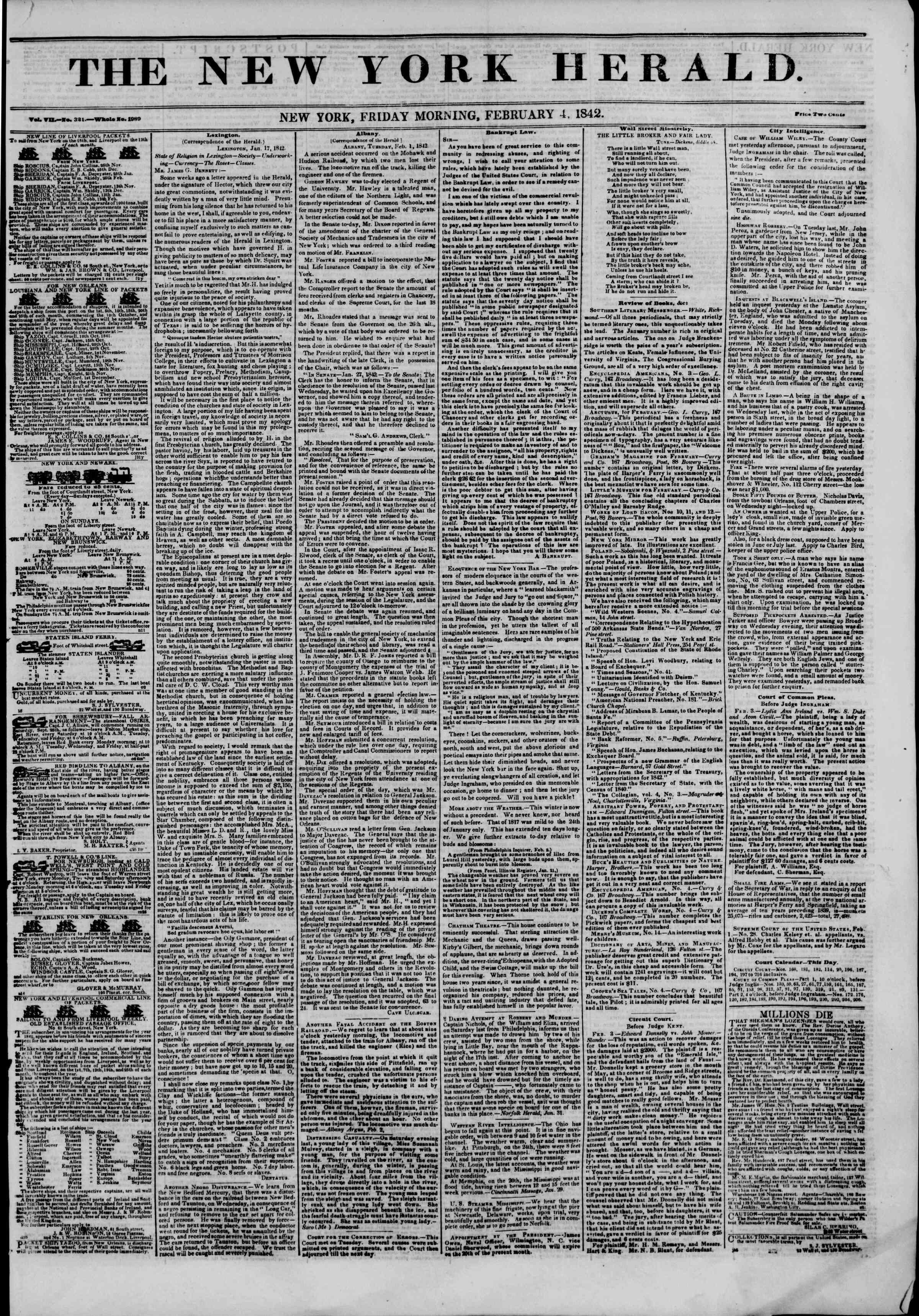 4 Şubat 1842 tarihli The New York Herald Gazetesi Sayfa 1