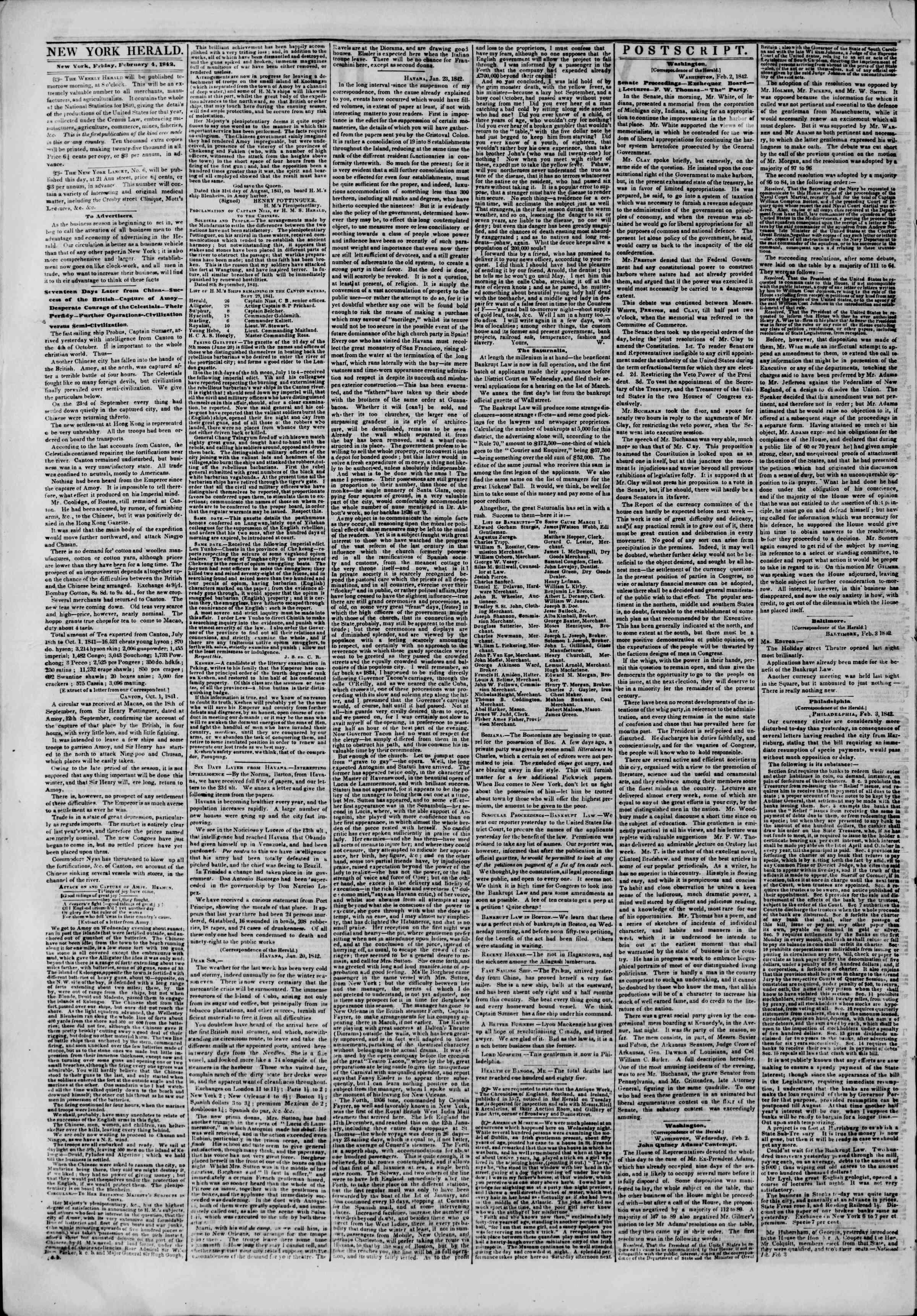 February 4, 1842 Tarihli The New York Herald Gazetesi Sayfa 2
