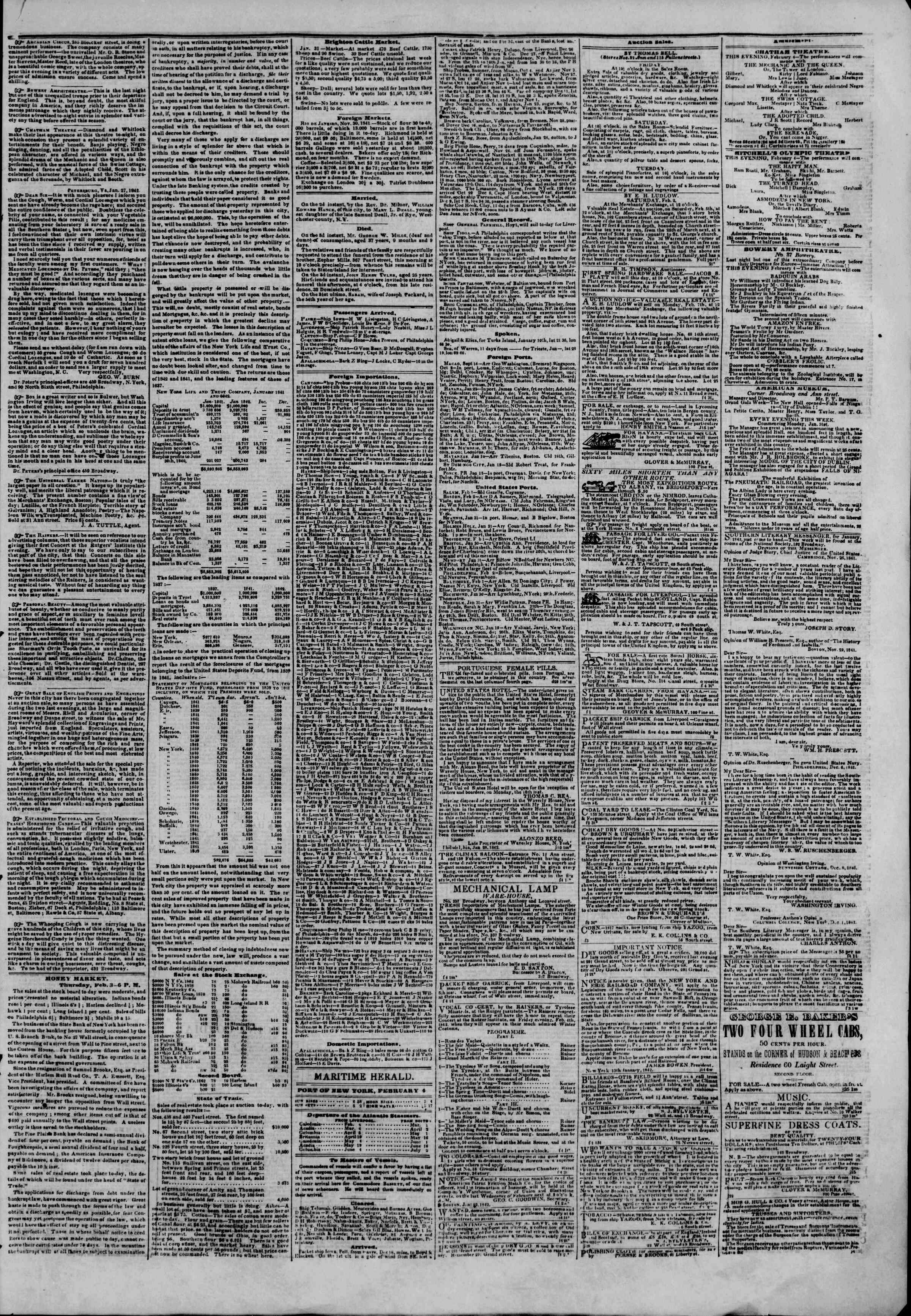 Newspaper of The New York Herald dated February 4, 1842 Page 3