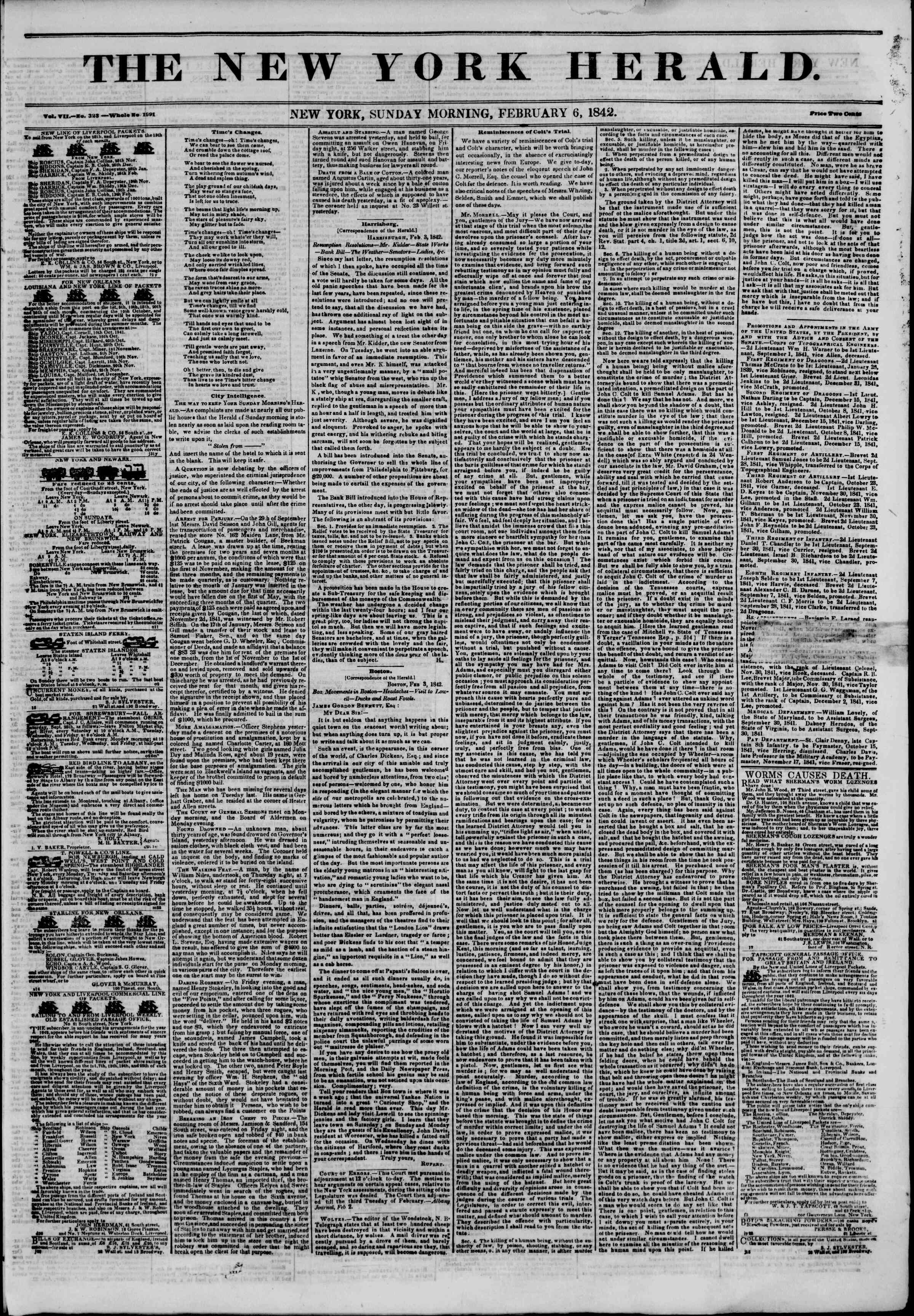 Newspaper of The New York Herald dated February 6, 1842 Page 1
