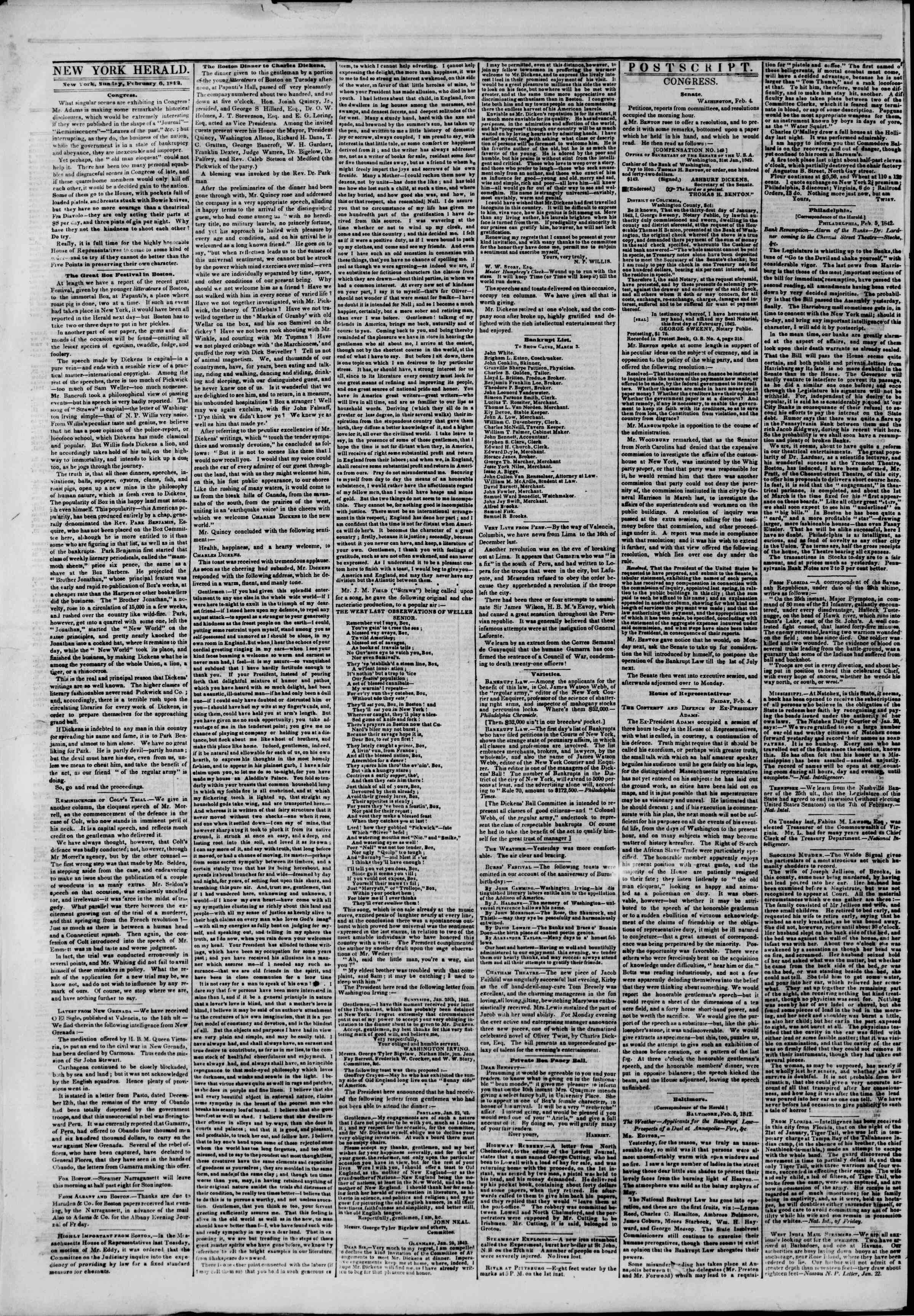 February 6, 1842 Tarihli The New York Herald Gazetesi Sayfa 2