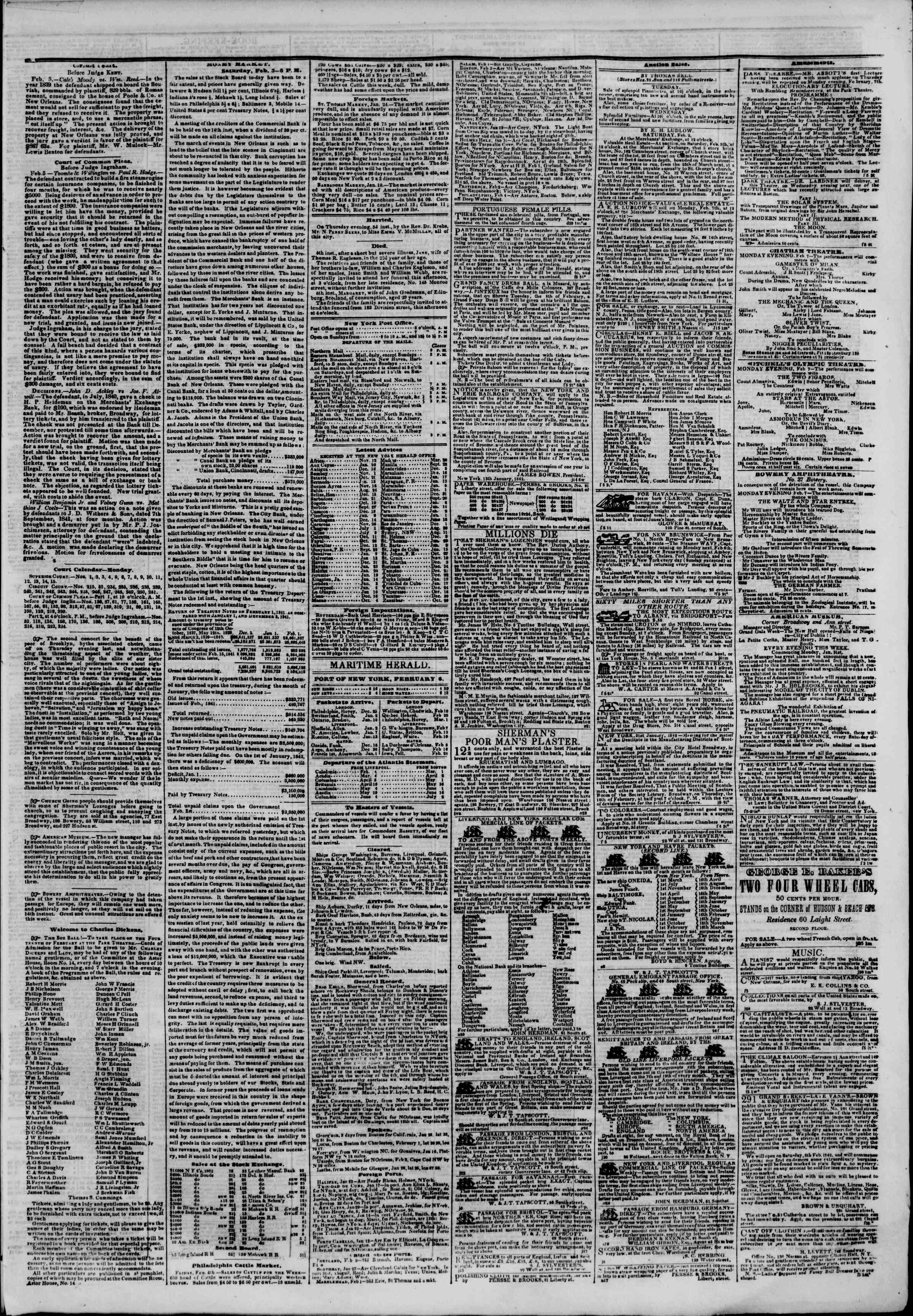 Newspaper of The New York Herald dated February 6, 1842 Page 3