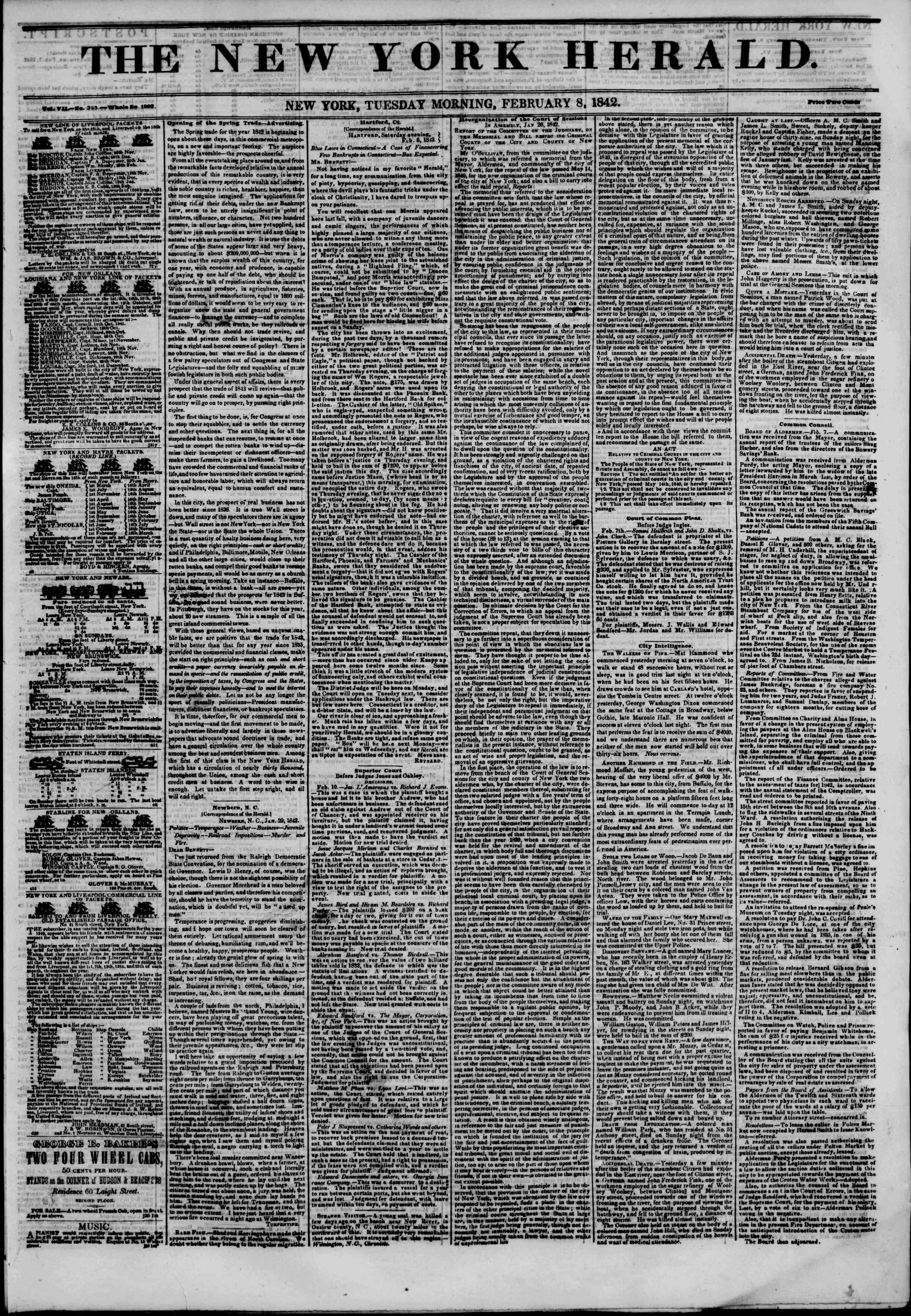 Newspaper of The New York Herald dated February 8, 1842 Page 1