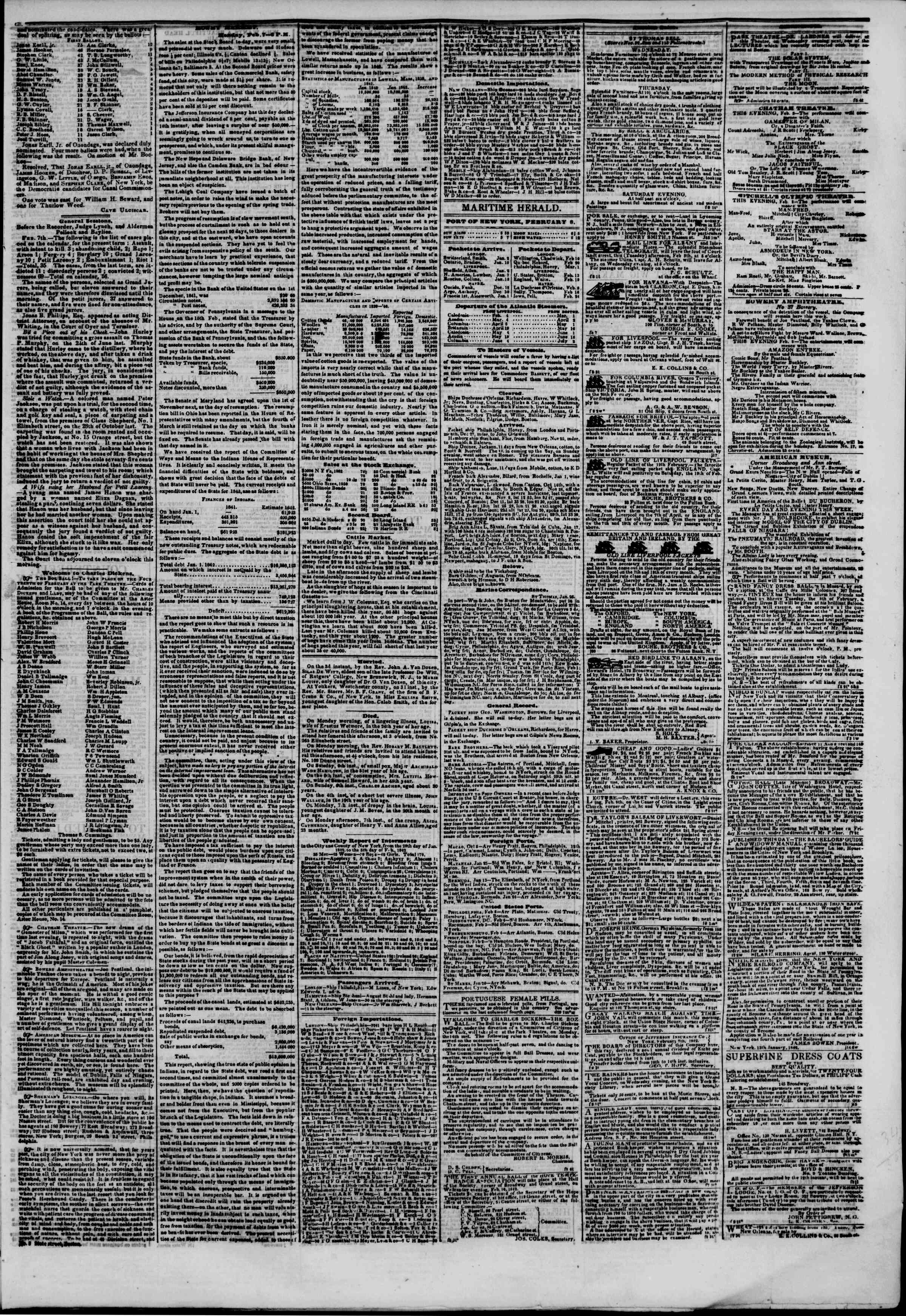 Newspaper of The New York Herald dated February 8, 1842 Page 3
