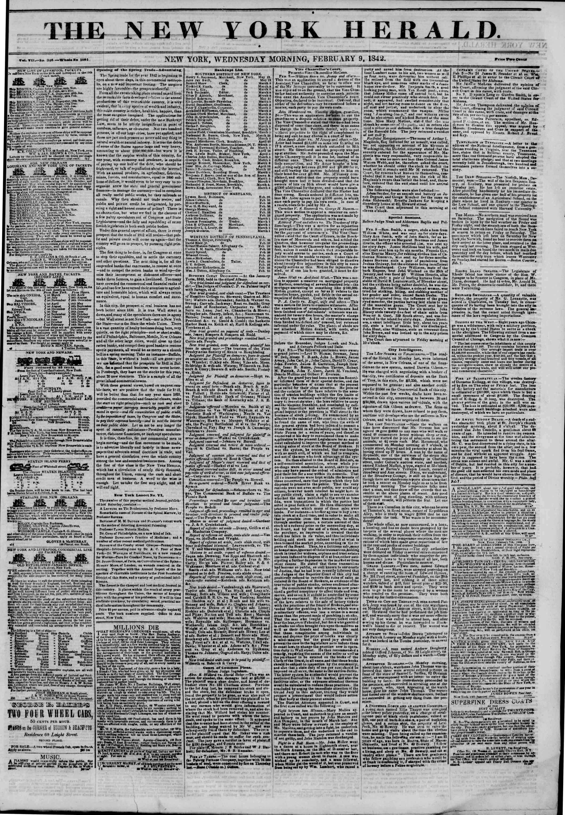 February 9, 1842 Tarihli The New York Herald Gazetesi Sayfa 1