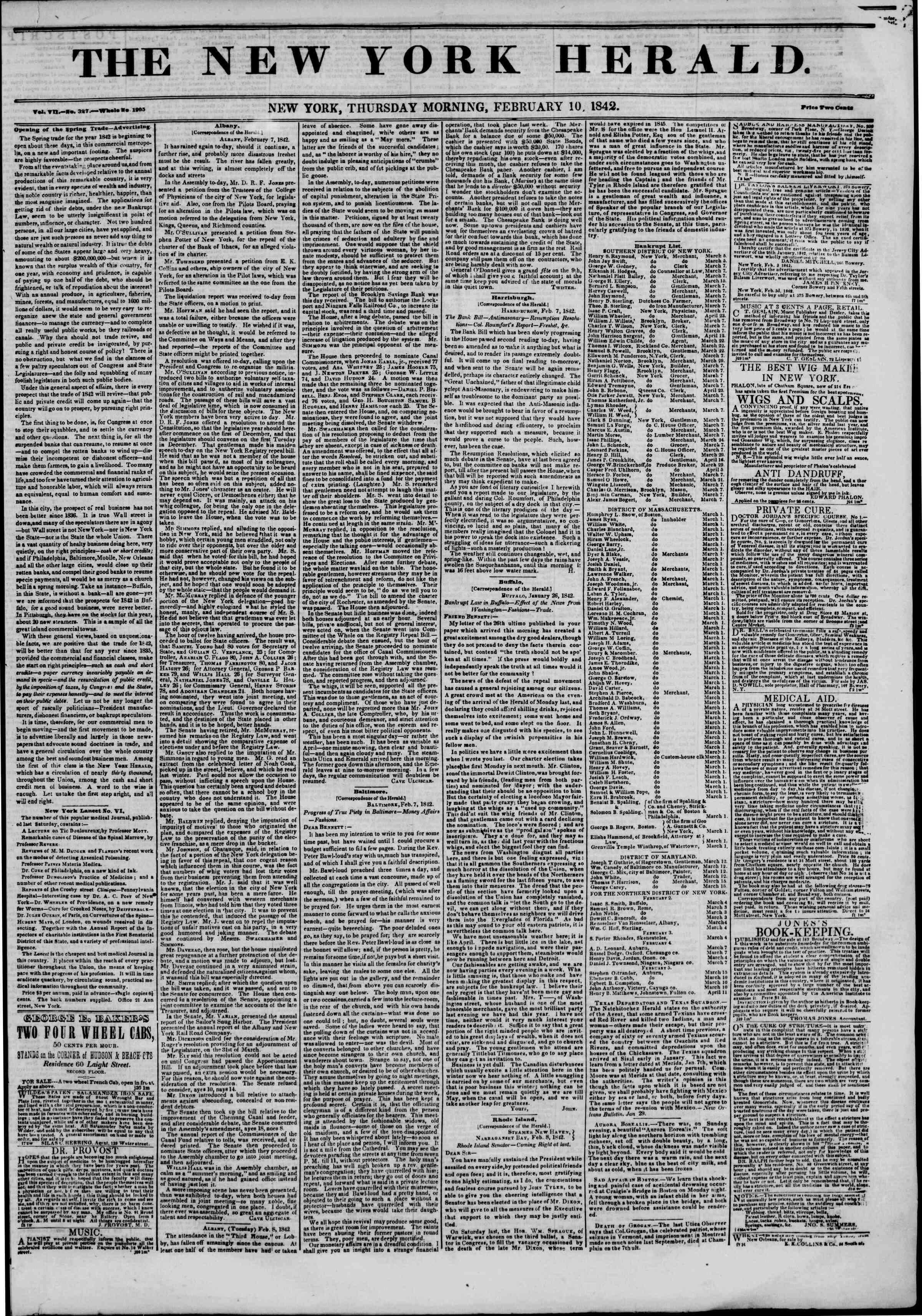 February 10, 1842 Tarihli The New York Herald Gazetesi Sayfa 1