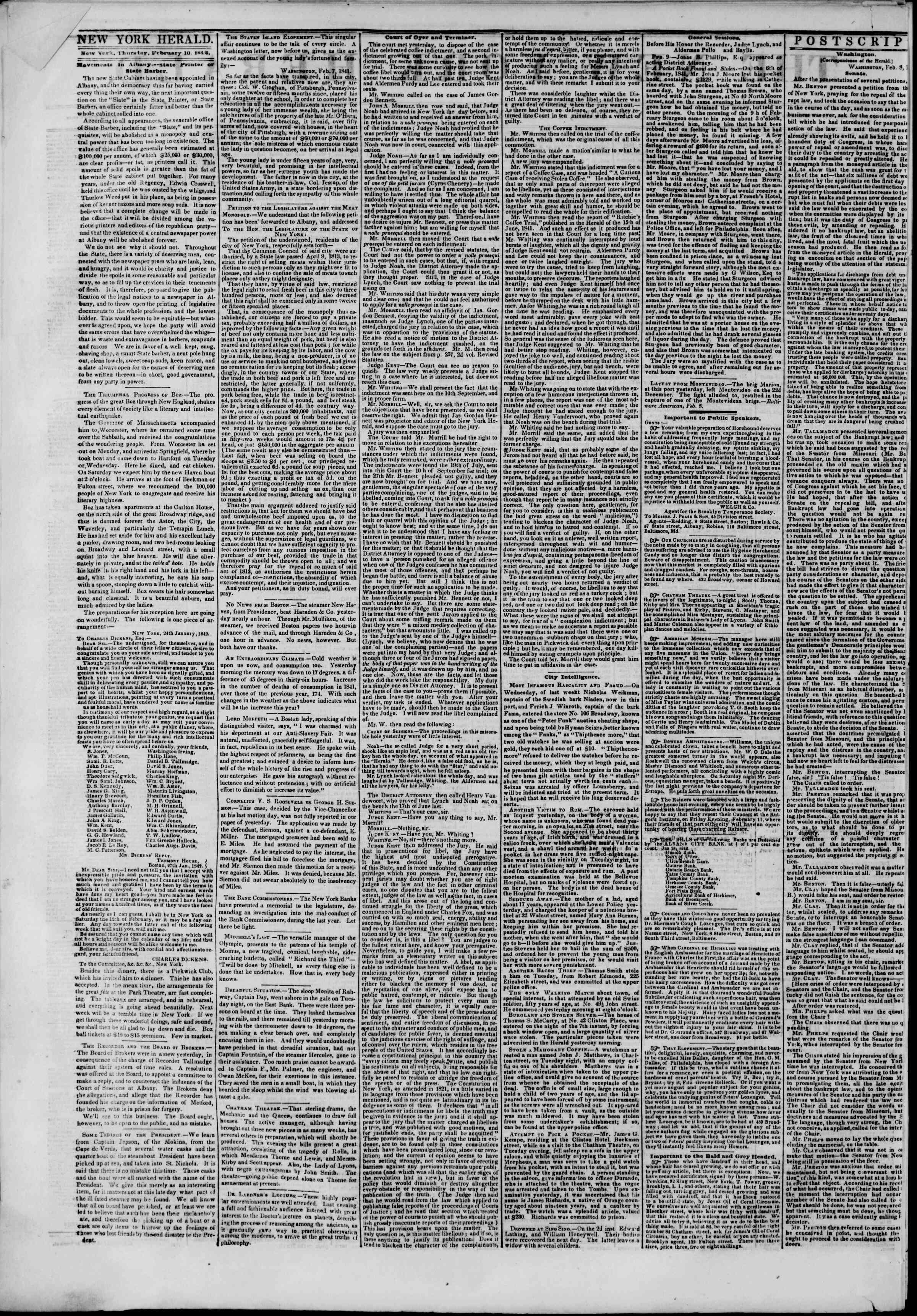 February 10, 1842 Tarihli The New York Herald Gazetesi Sayfa 2