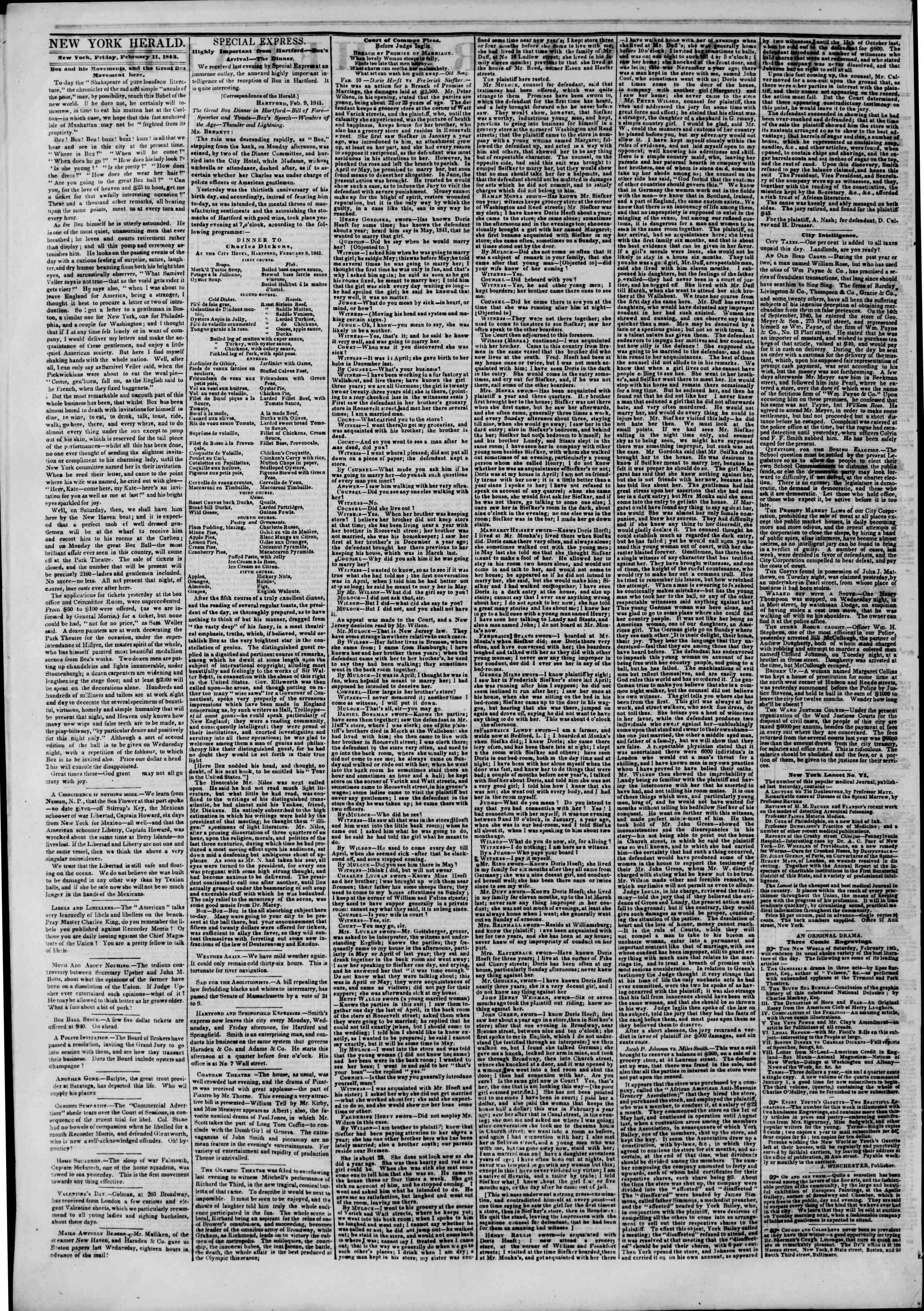 February 11, 1842 Tarihli The New York Herald Gazetesi Sayfa 2