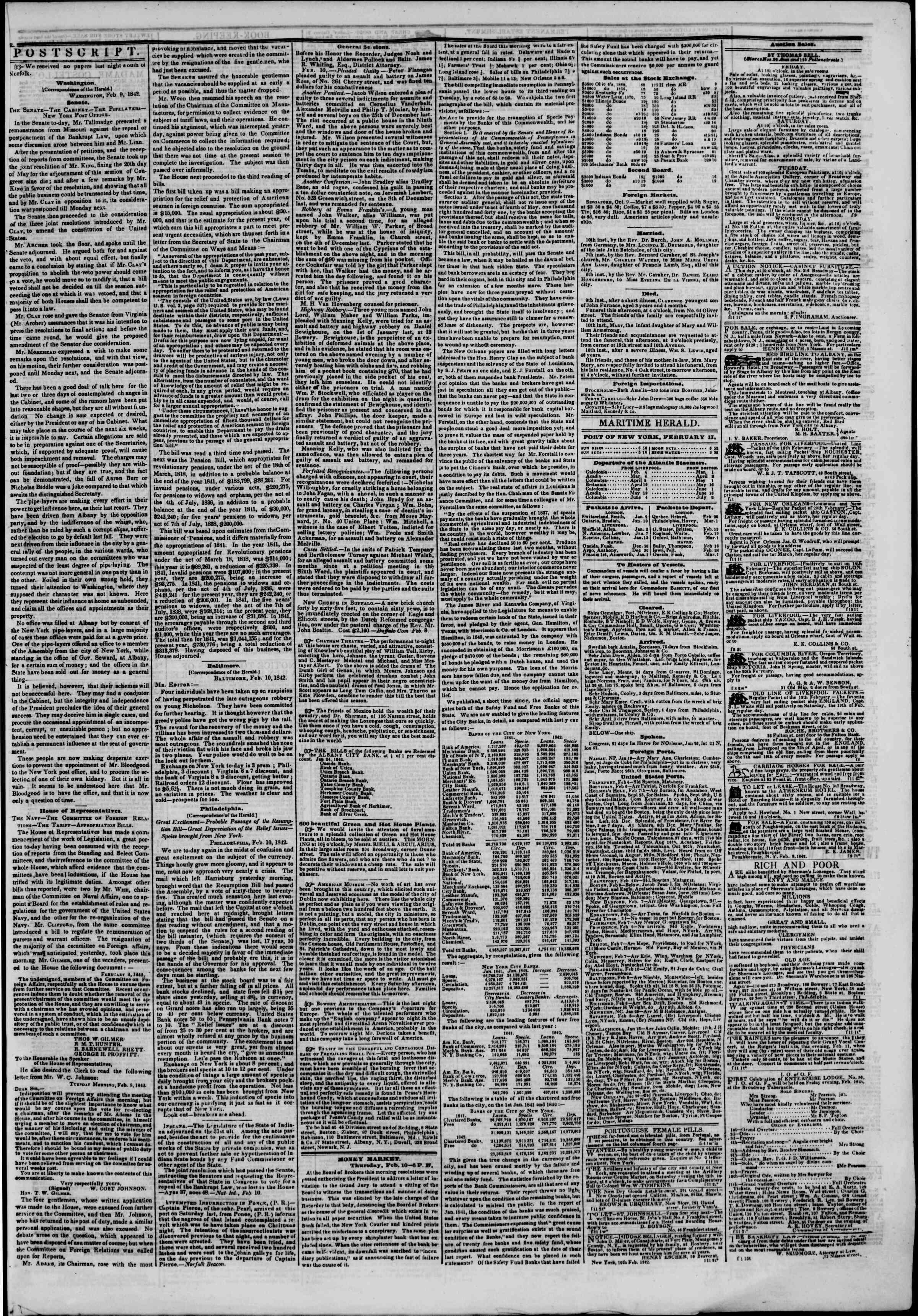 February 11, 1842 Tarihli The New York Herald Gazetesi Sayfa 3