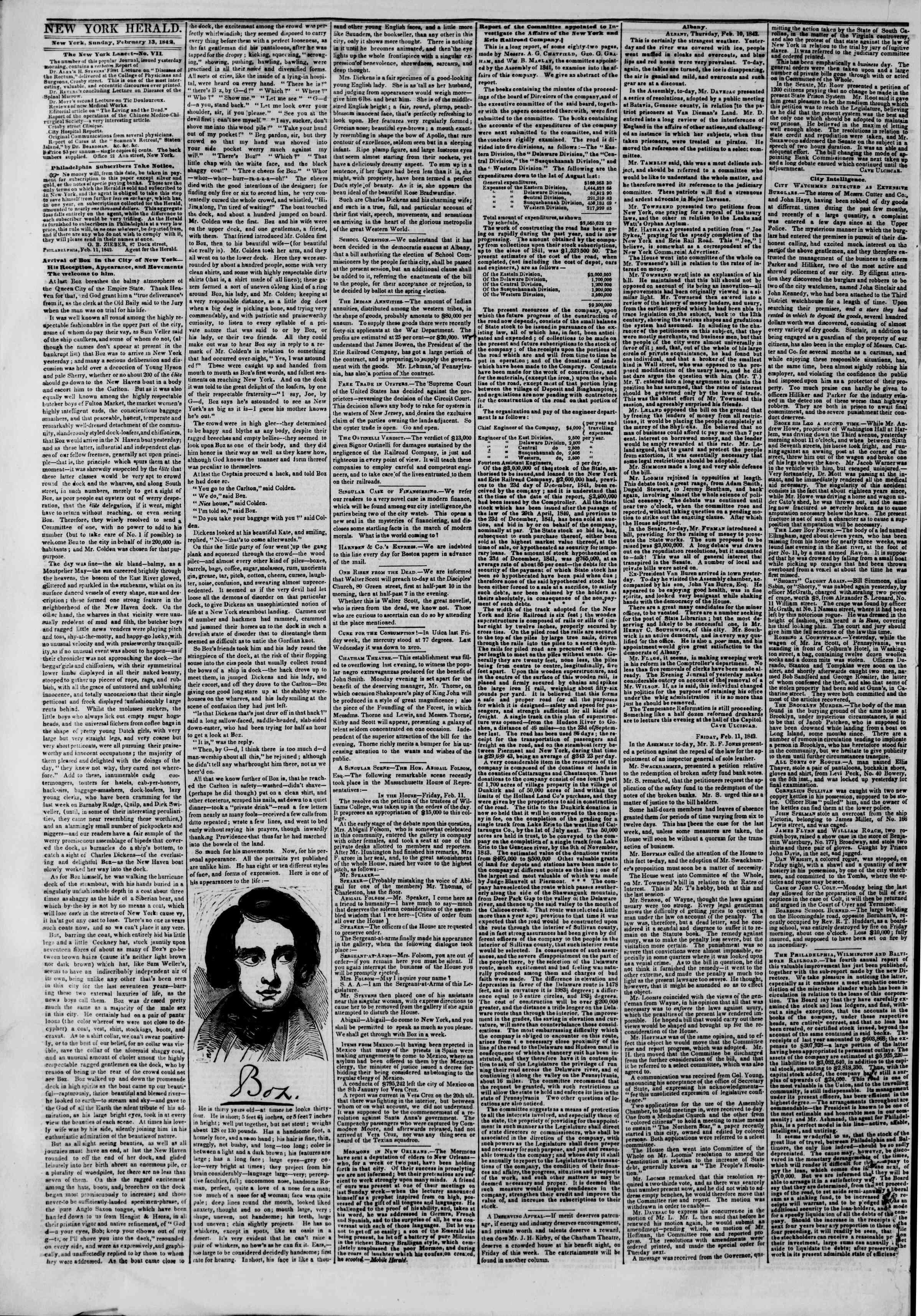 February 13, 1842 Tarihli The New York Herald Gazetesi Sayfa 2