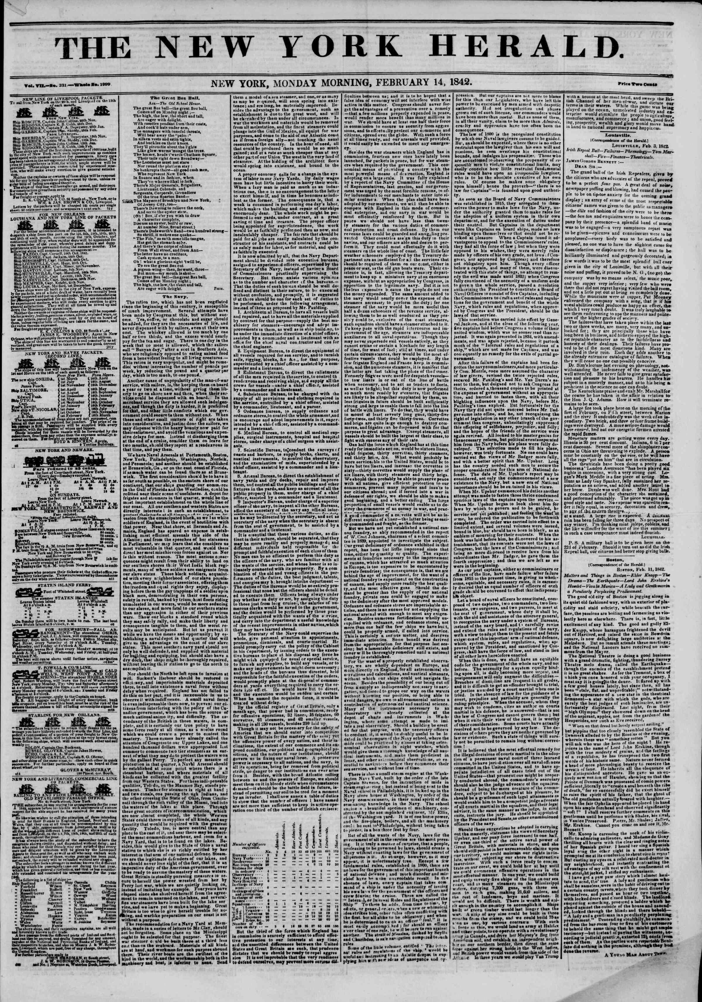 February 14, 1842 Tarihli The New York Herald Gazetesi Sayfa 1