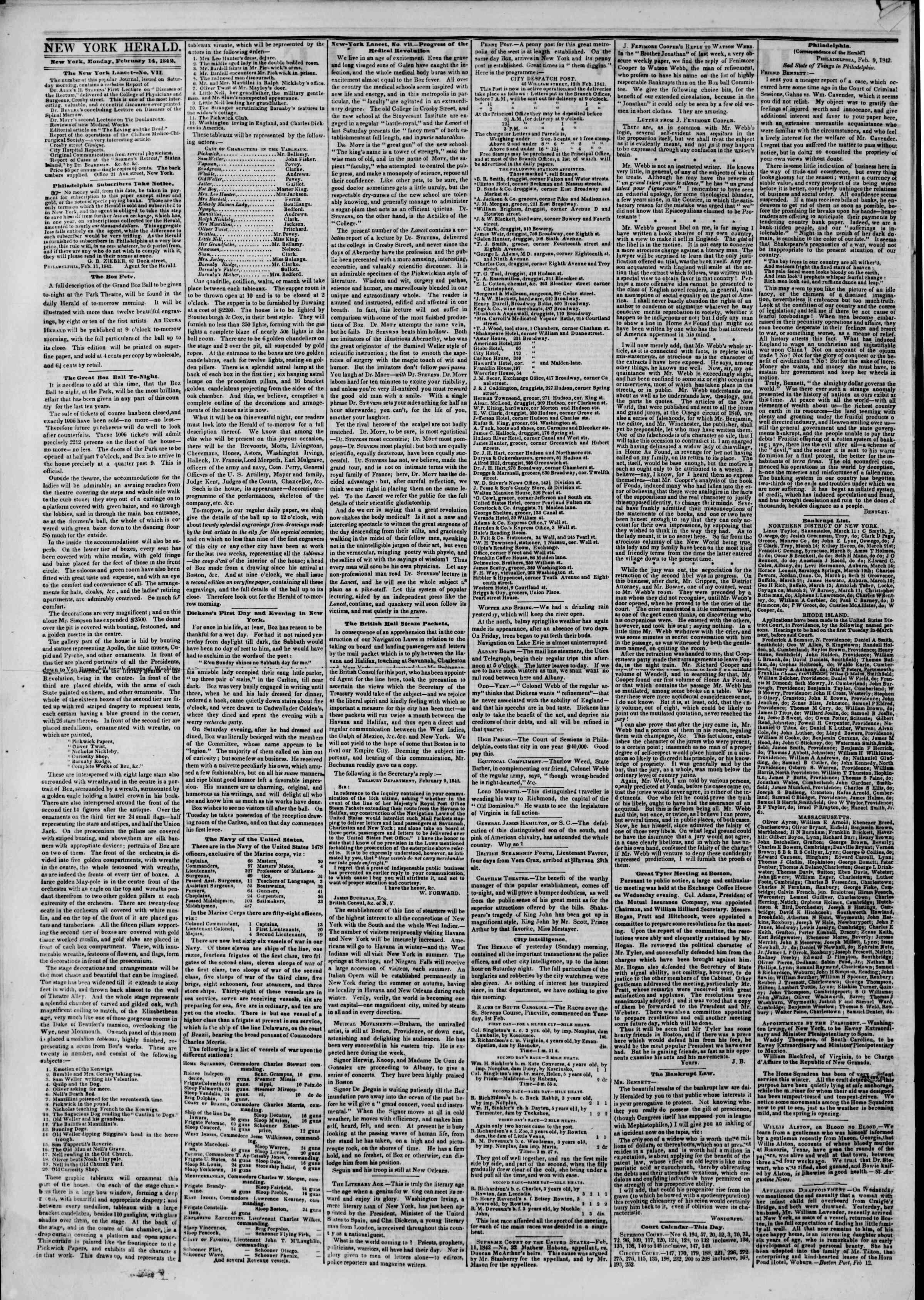 February 14, 1842 Tarihli The New York Herald Gazetesi Sayfa 2