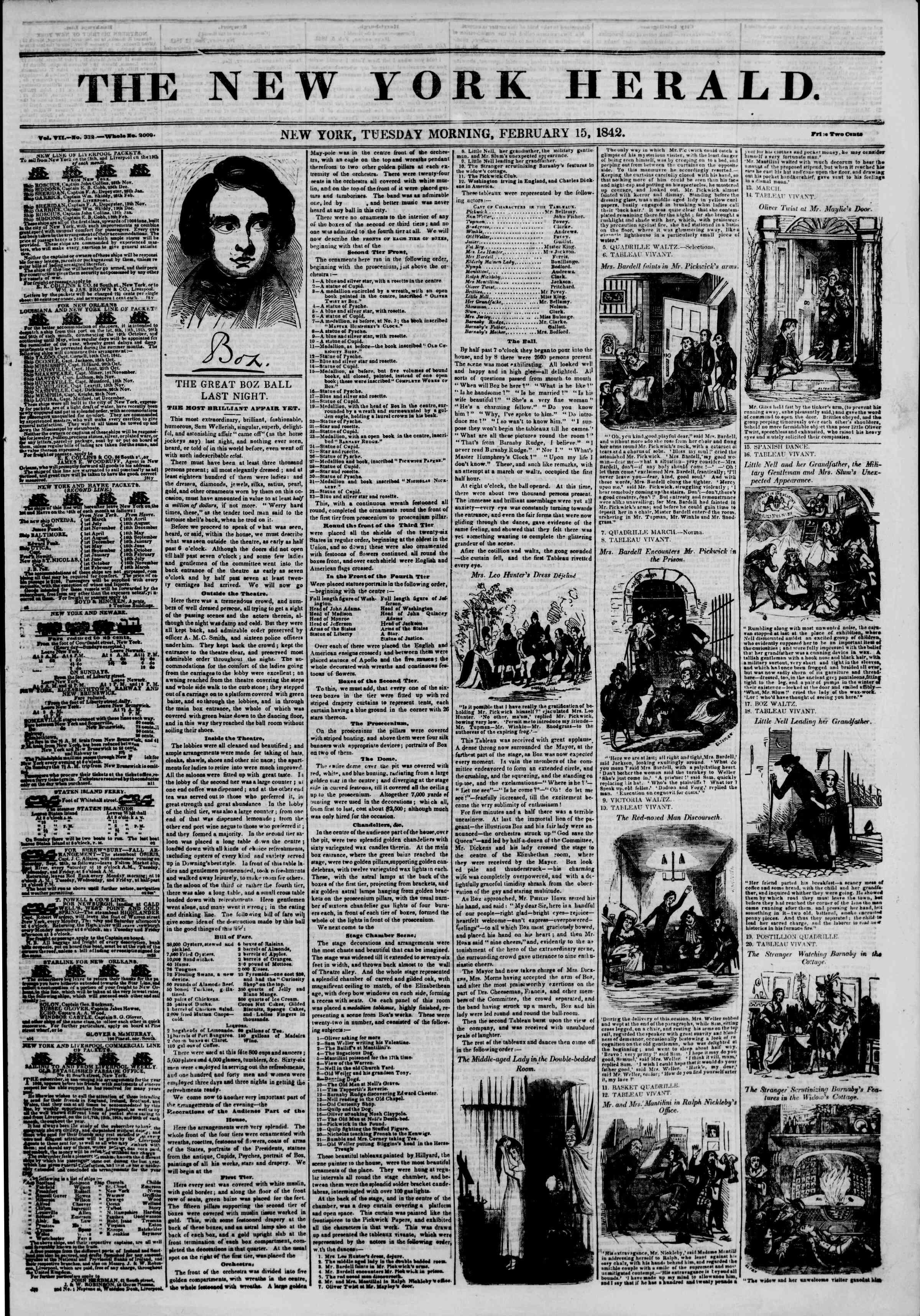 February 15, 1842 Tarihli The New York Herald Gazetesi Sayfa 1