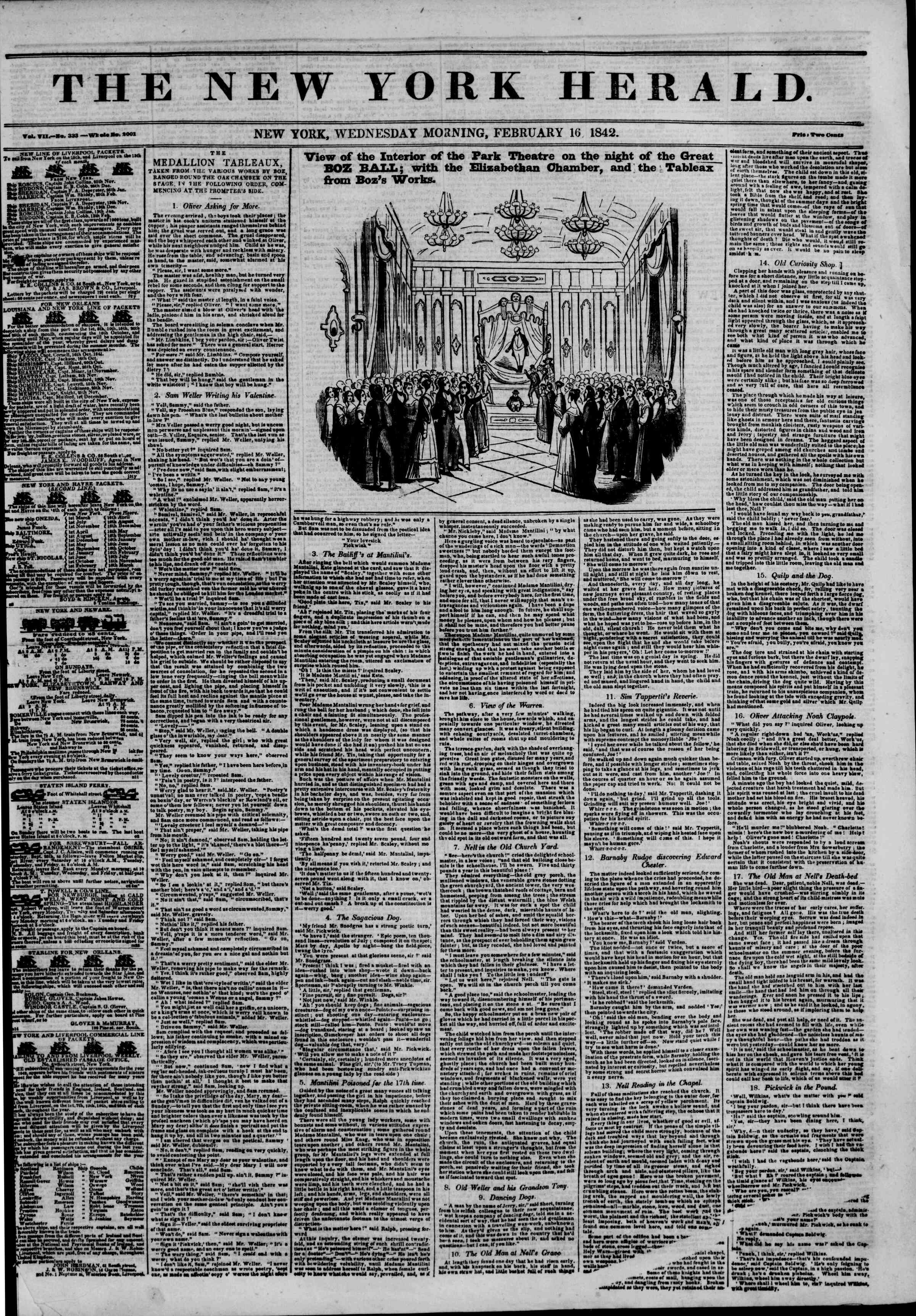 Newspaper of The New York Herald dated February 16, 1842 Page 1