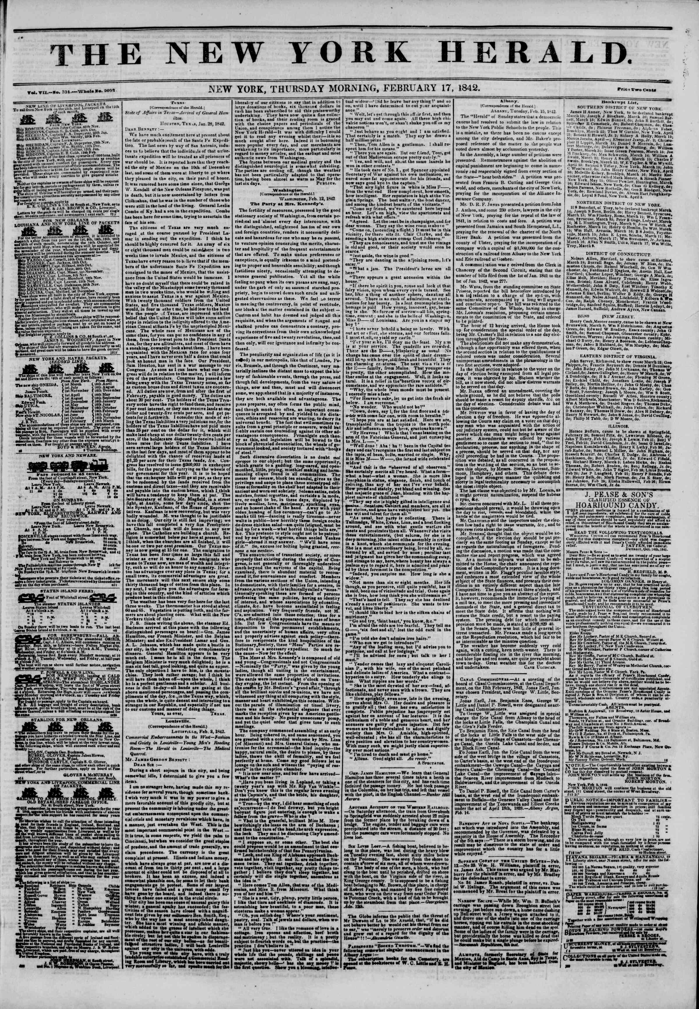 February 17, 1842 Tarihli The New York Herald Gazetesi Sayfa 1