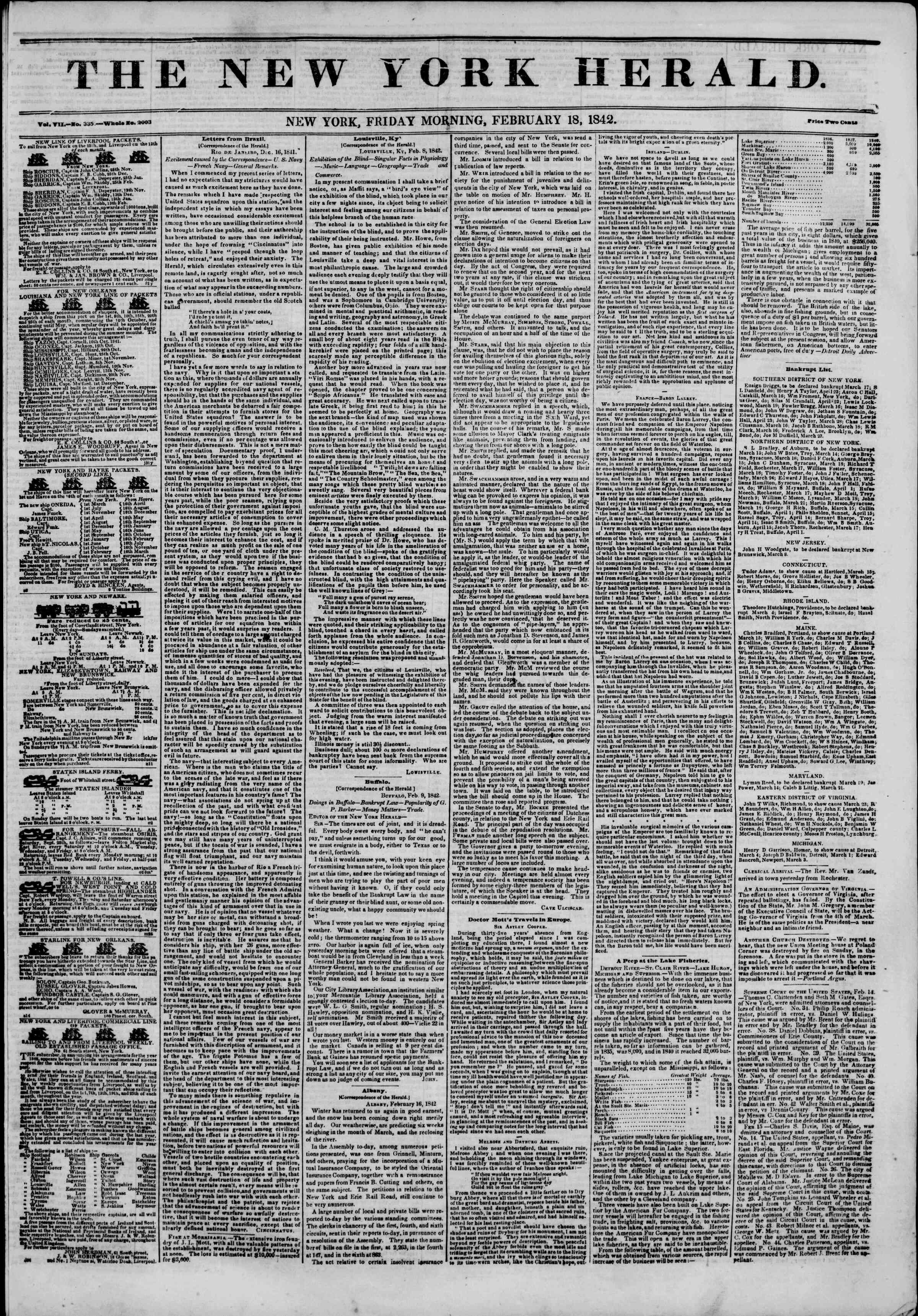 Newspaper of The New York Herald dated February 18, 1842 Page 1