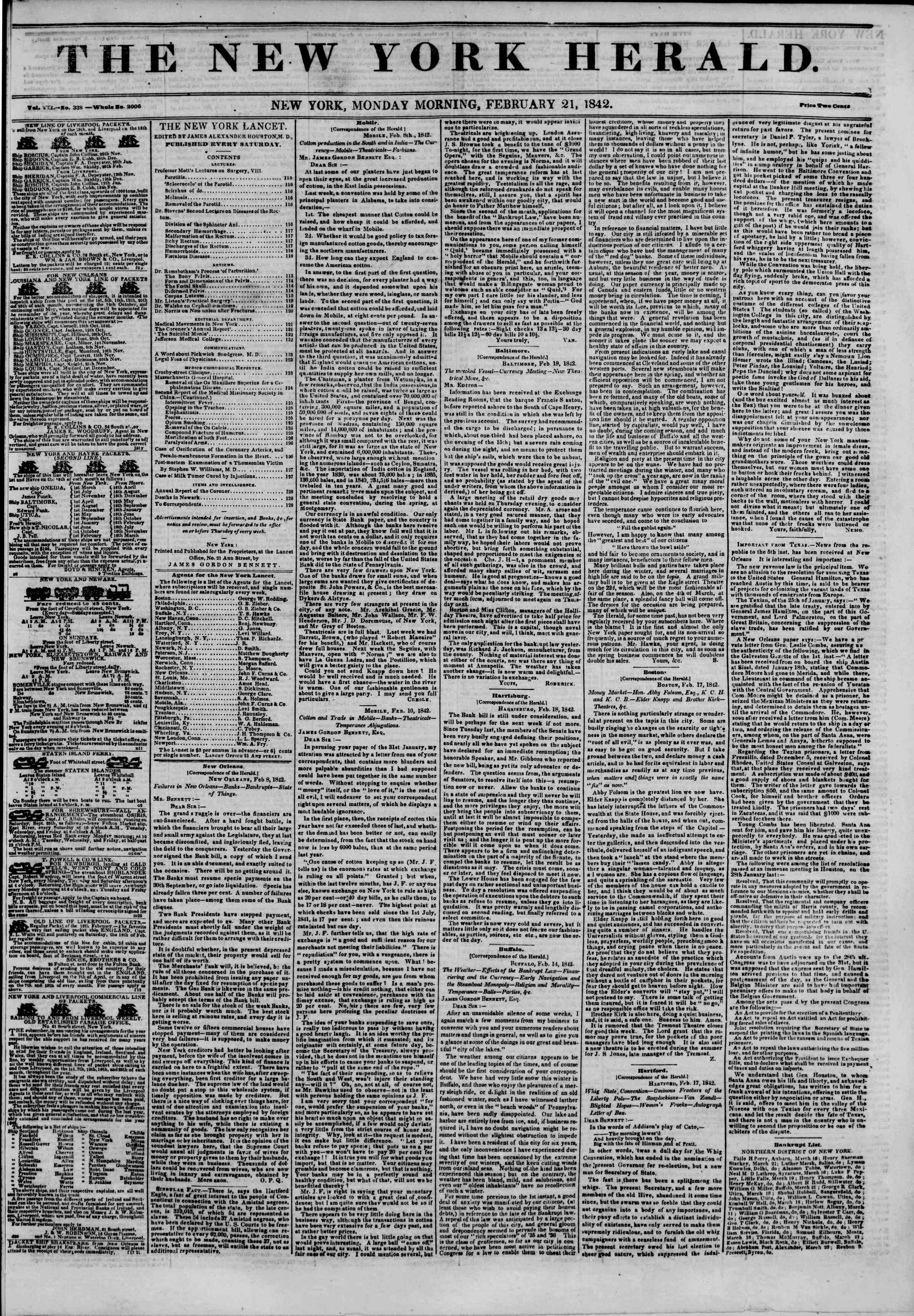 Newspaper of The New York Herald dated February 21, 1842 Page 1