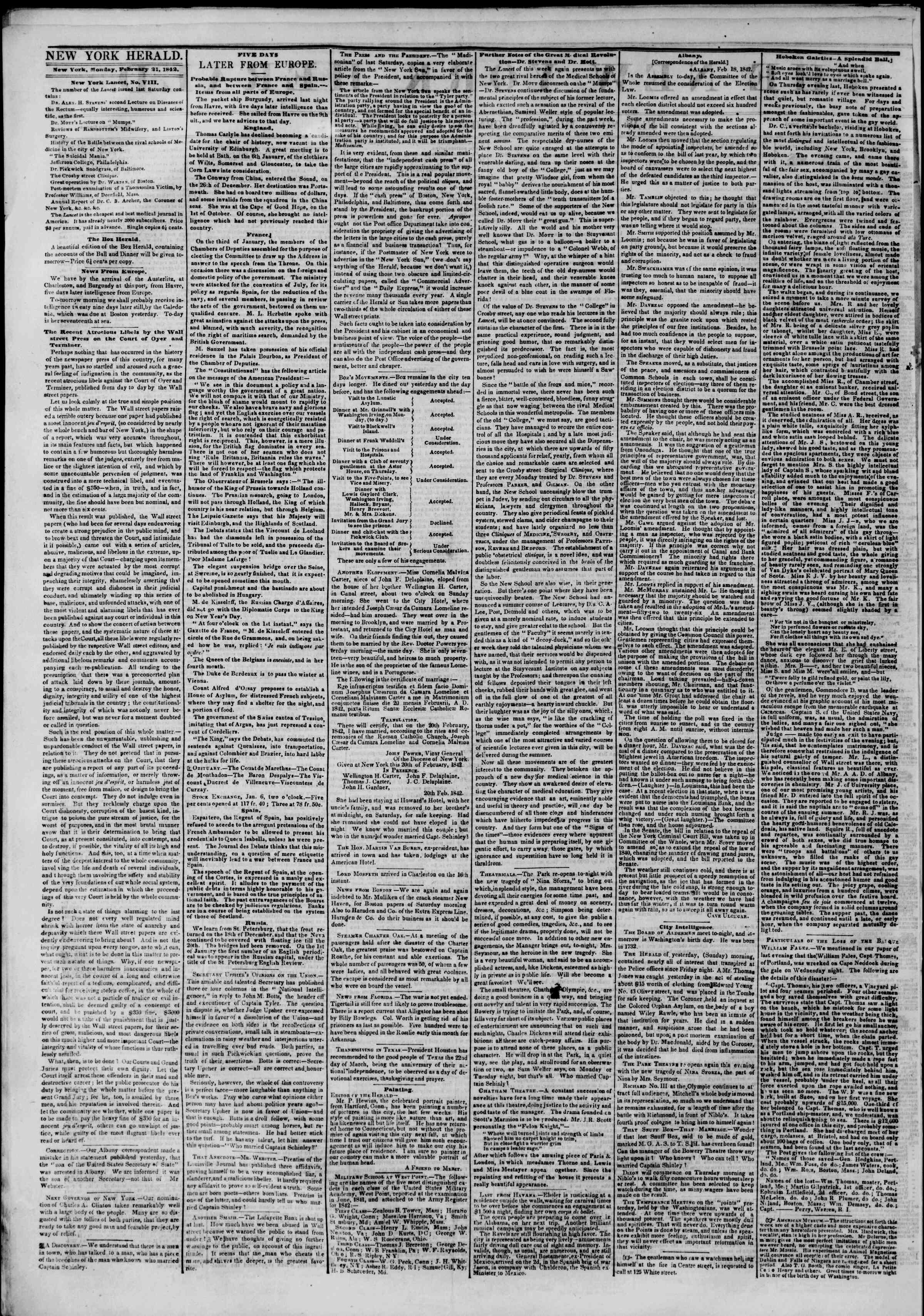 Newspaper of The New York Herald dated February 21, 1842 Page 2