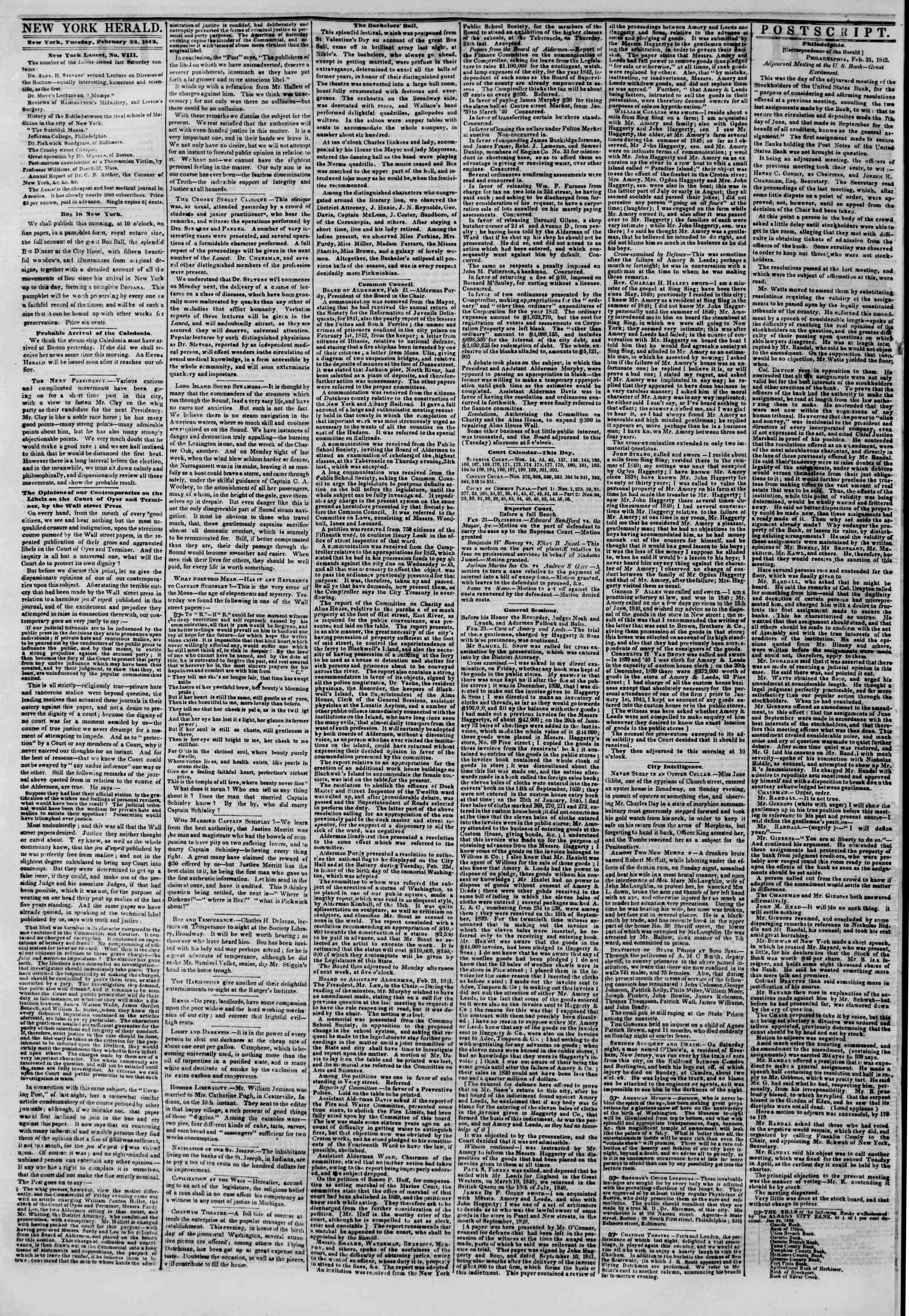 Newspaper of The New York Herald dated February 22, 1842 Page 2