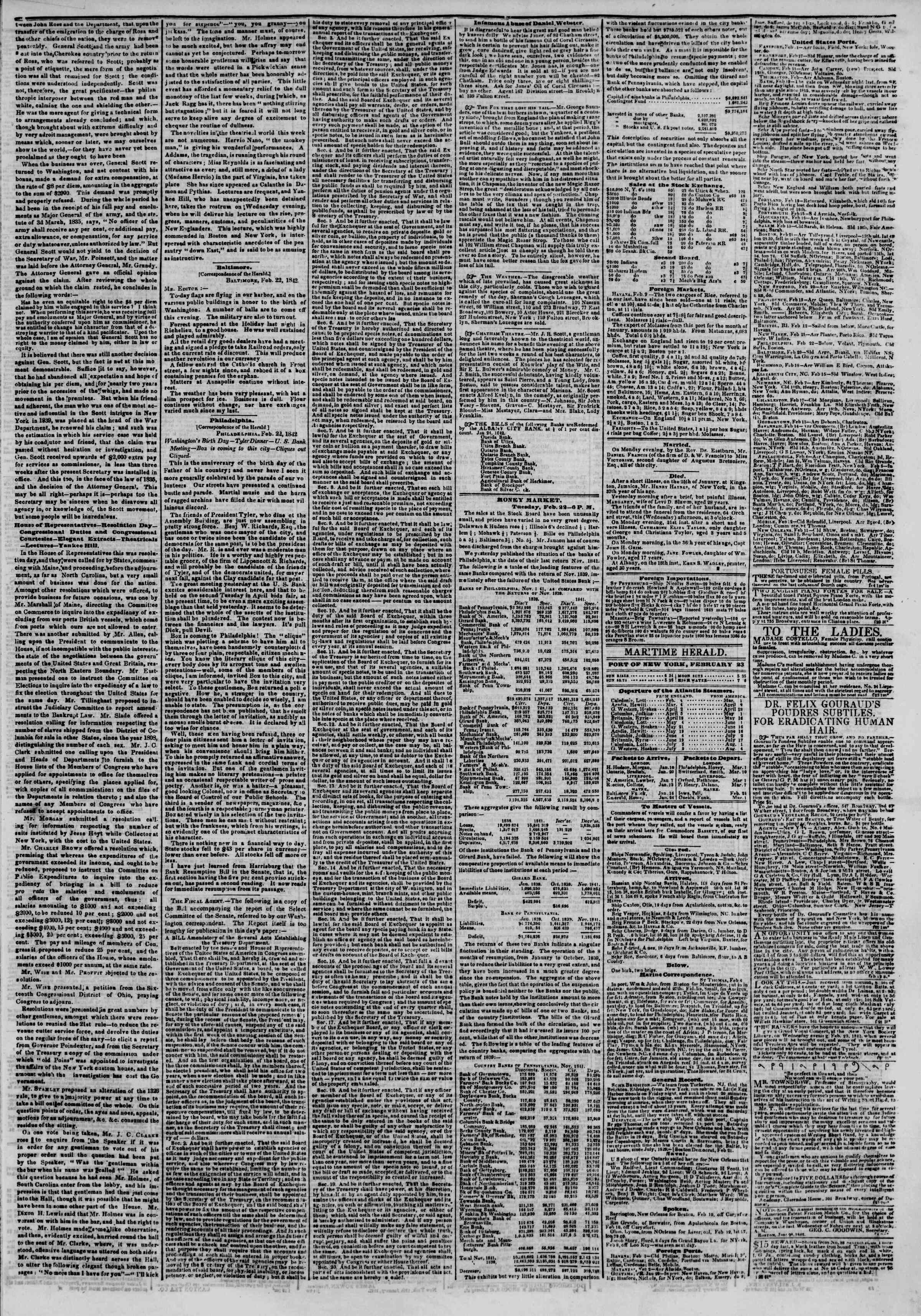 Newspaper of The New York Herald dated 23 Şubat 1842 Page 3