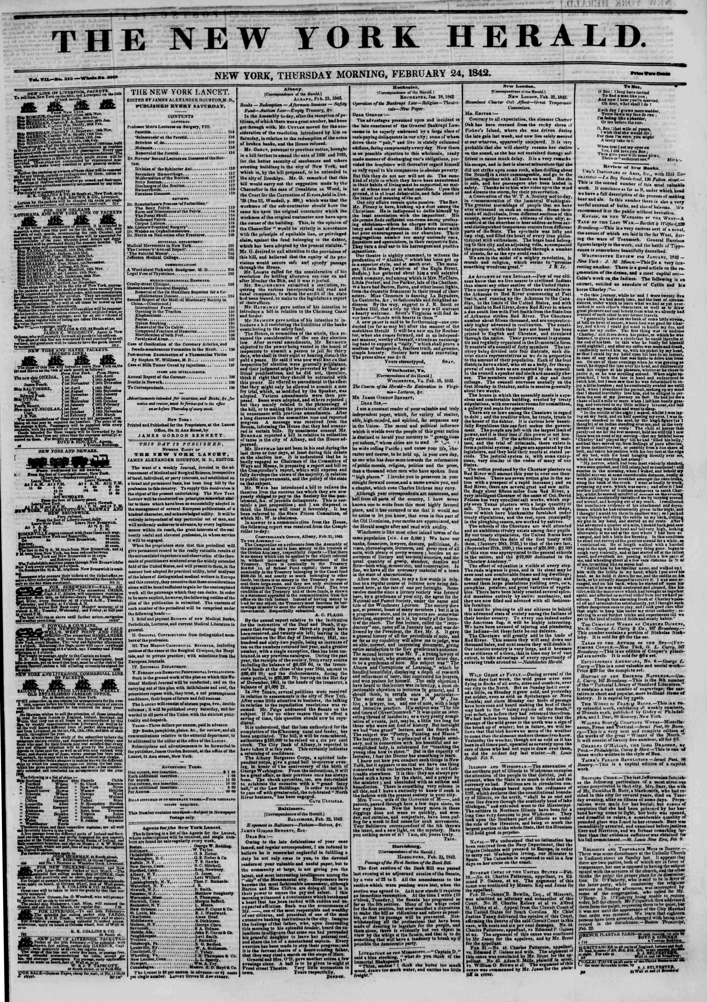 February 24, 1842 Tarihli The New York Herald Gazetesi Sayfa 1