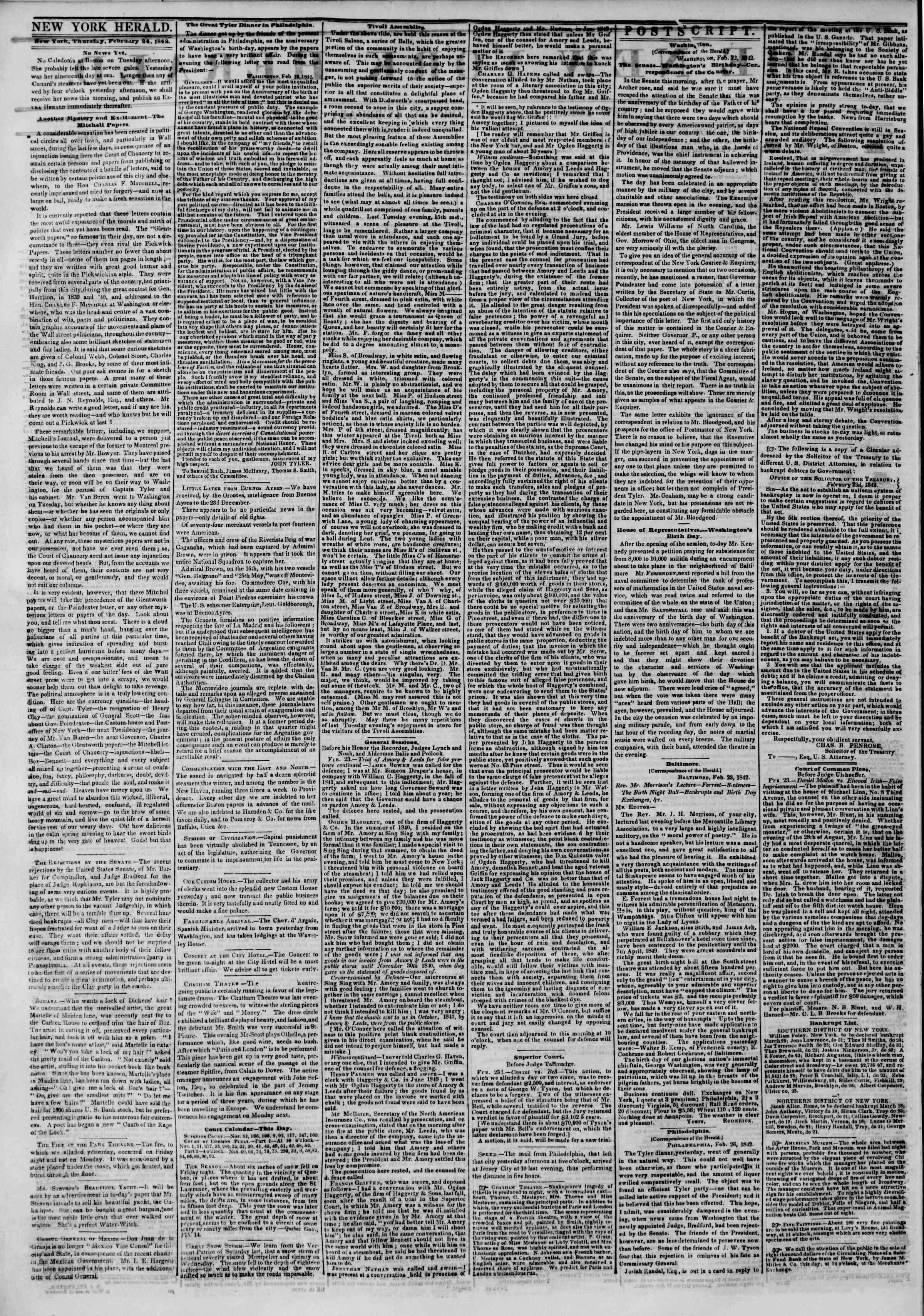 Newspaper of The New York Herald dated February 24, 1842 Page 2