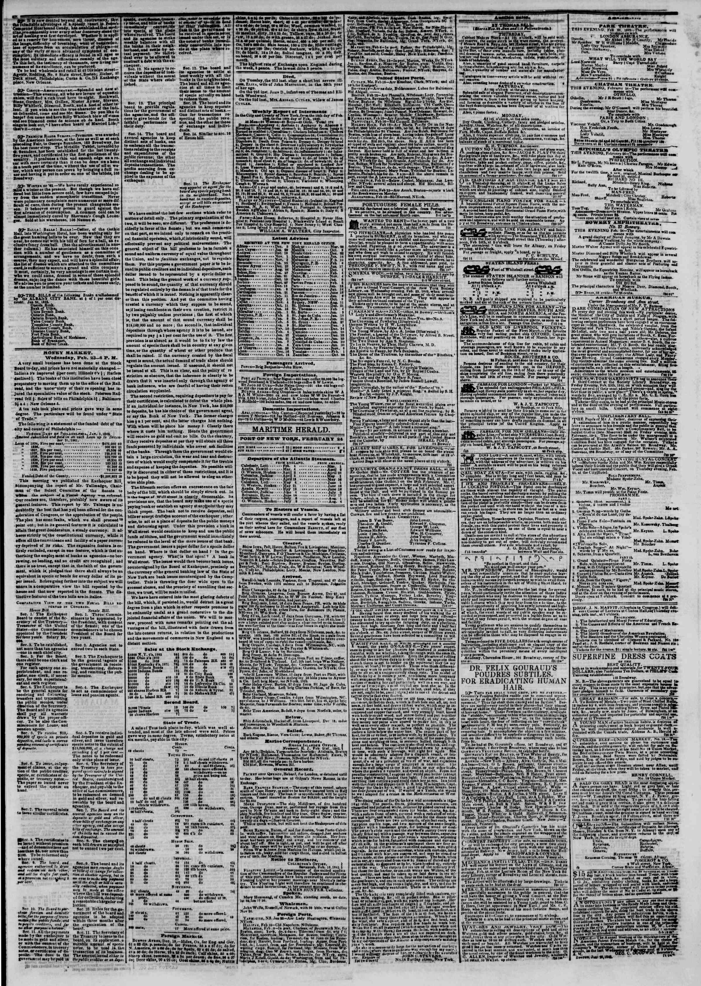 Newspaper of The New York Herald dated February 24, 1842 Page 3