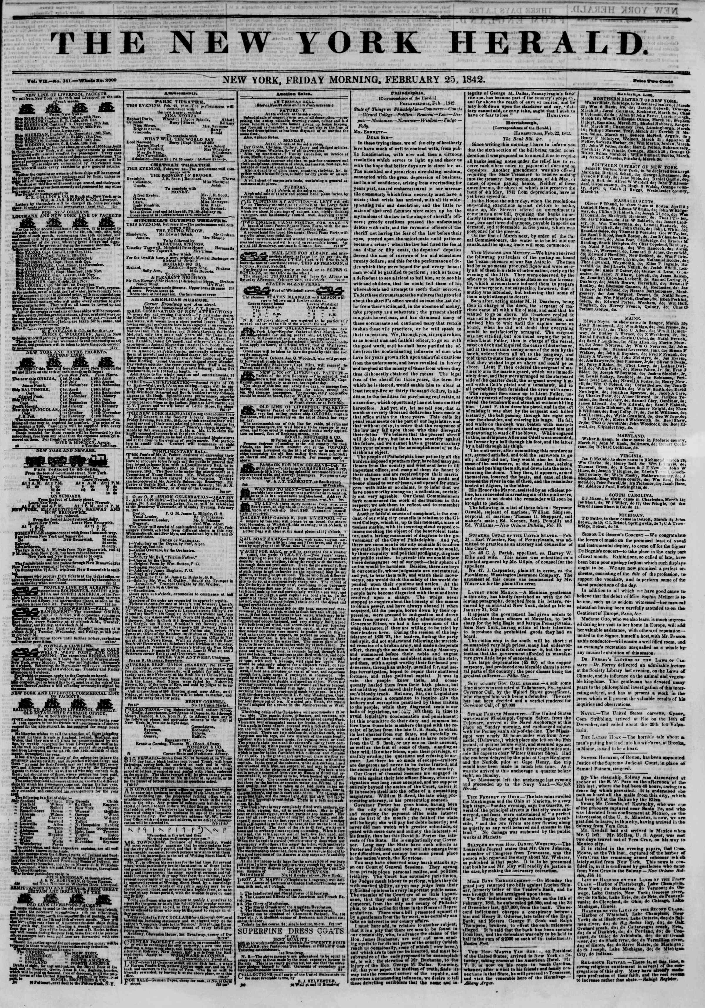 February 25, 1842 Tarihli The New York Herald Gazetesi Sayfa 1