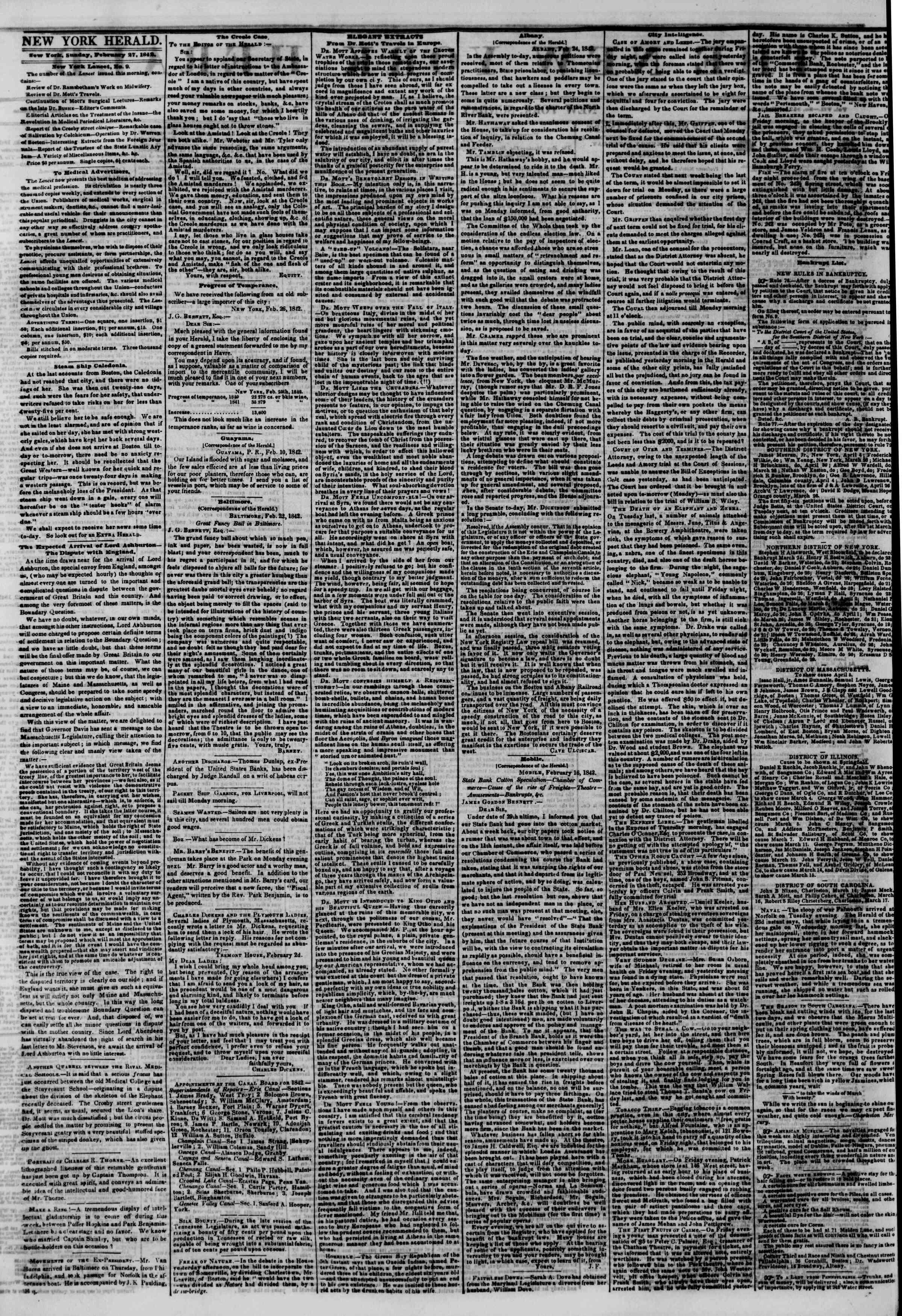 February 27, 1842 Tarihli The New York Herald Gazetesi Sayfa 2