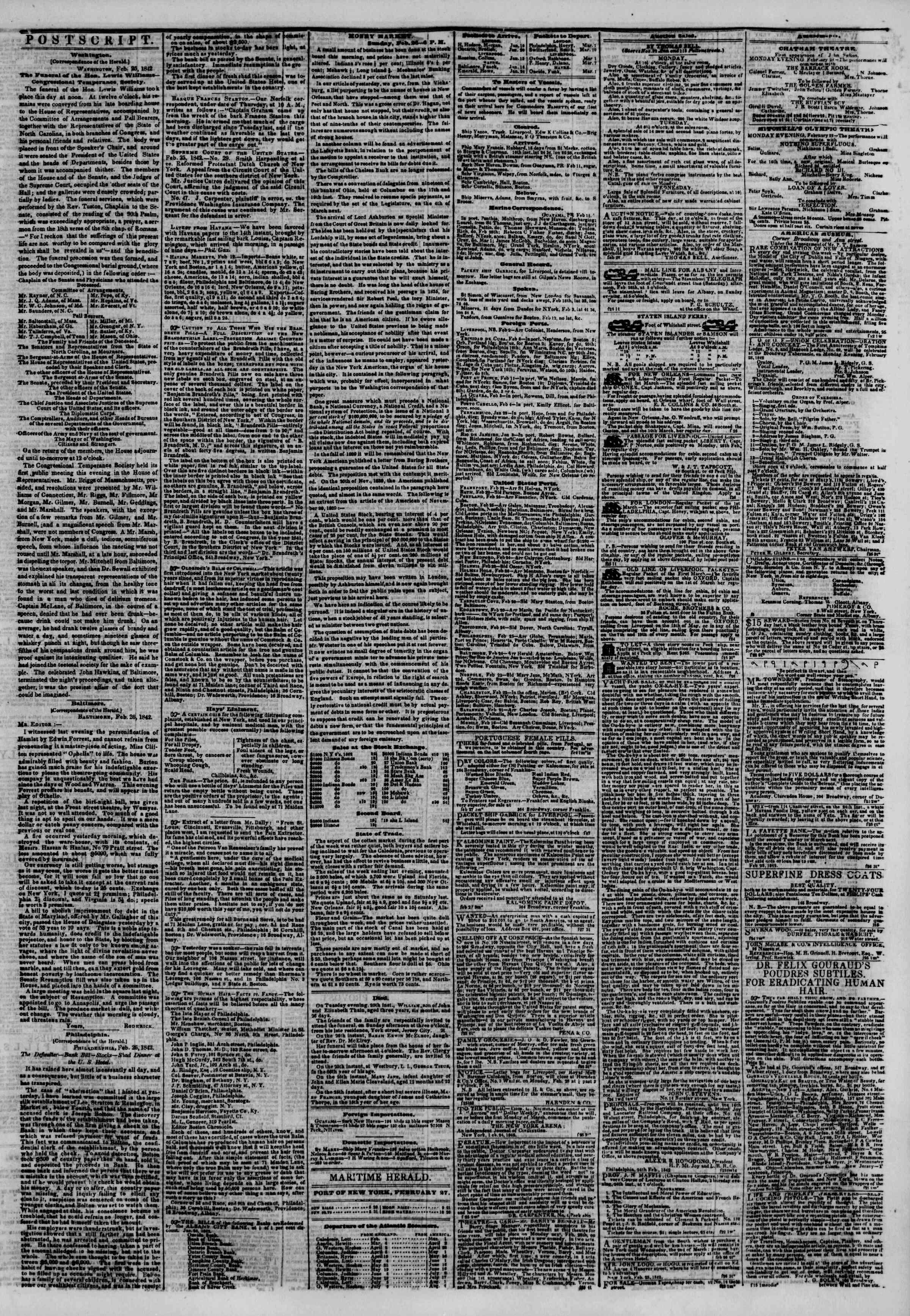 February 27, 1842 Tarihli The New York Herald Gazetesi Sayfa 3