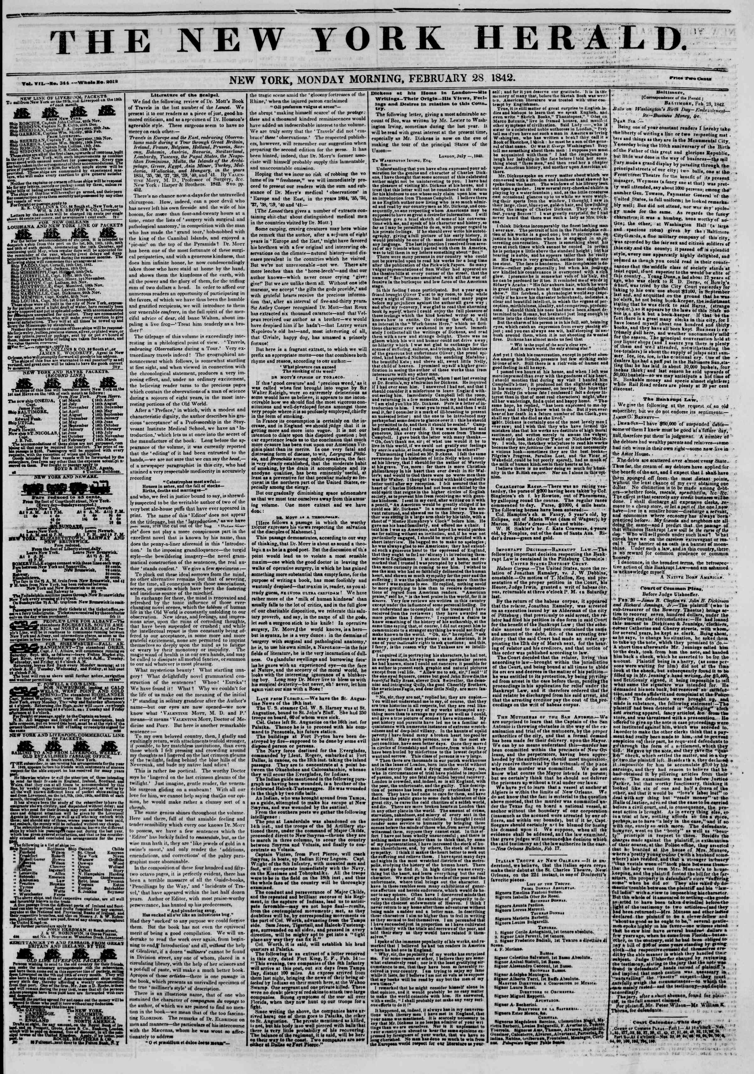 February 28, 1842 Tarihli The New York Herald Gazetesi Sayfa 1