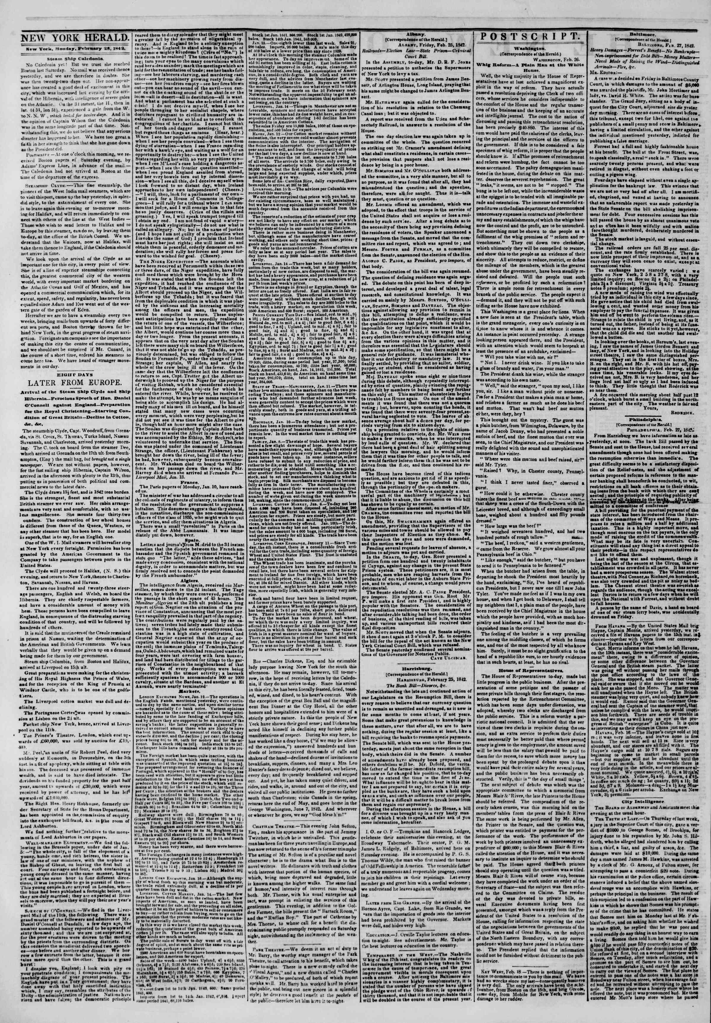 Newspaper of The New York Herald dated February 28, 1842 Page 2