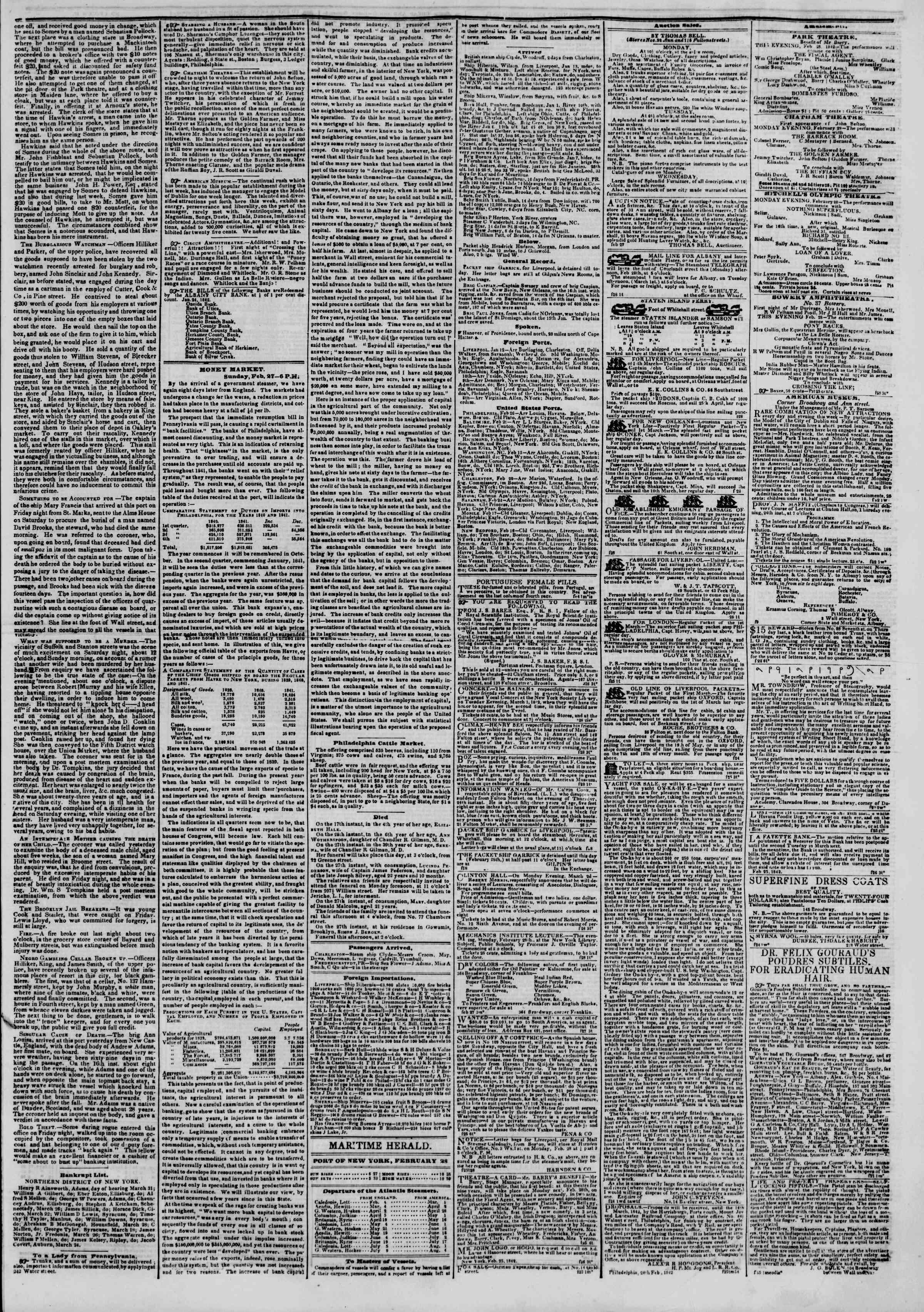 February 28, 1842 Tarihli The New York Herald Gazetesi Sayfa 3