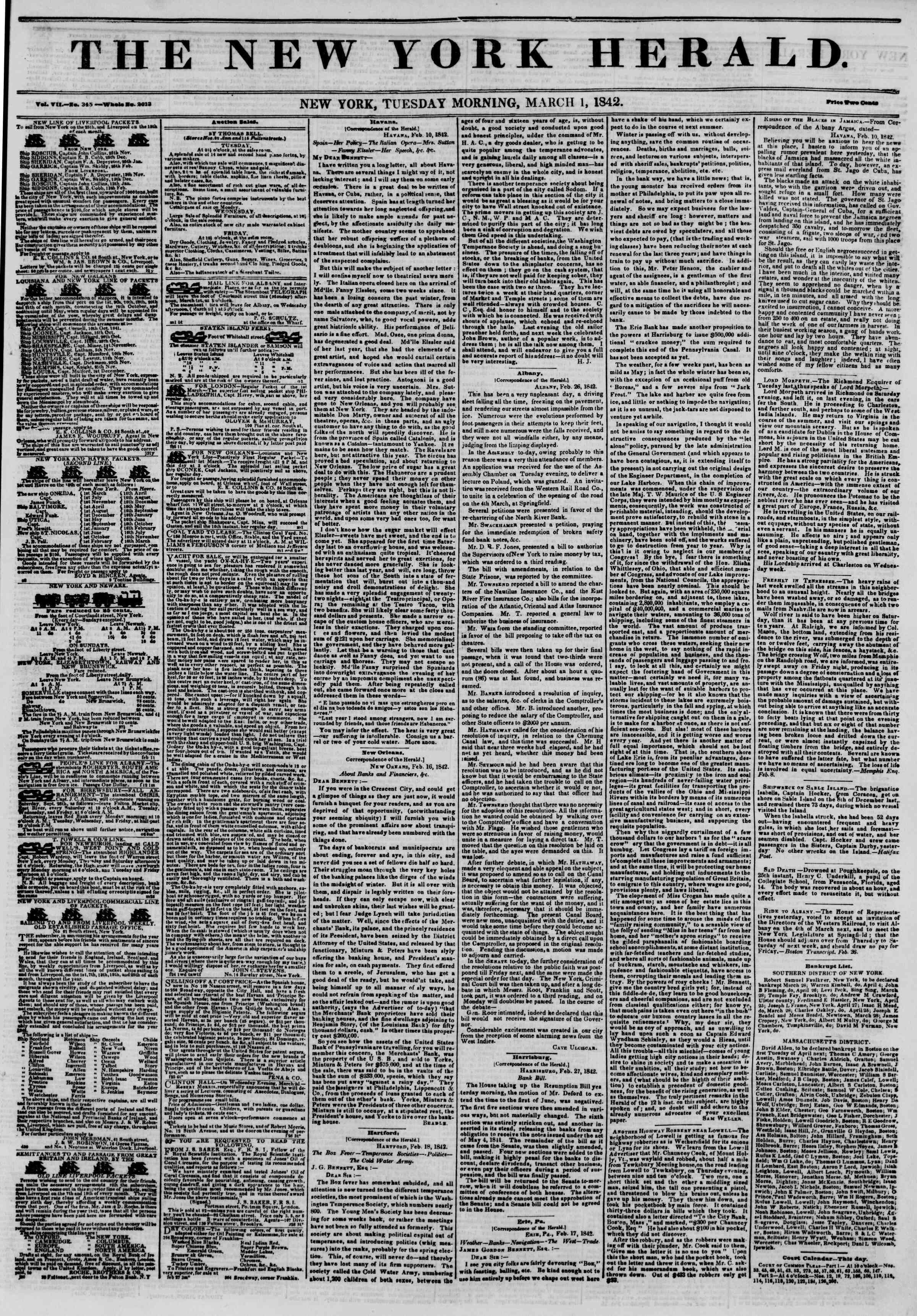1 Mart 1842 Tarihli The New York Herald Gazetesi Sayfa 1