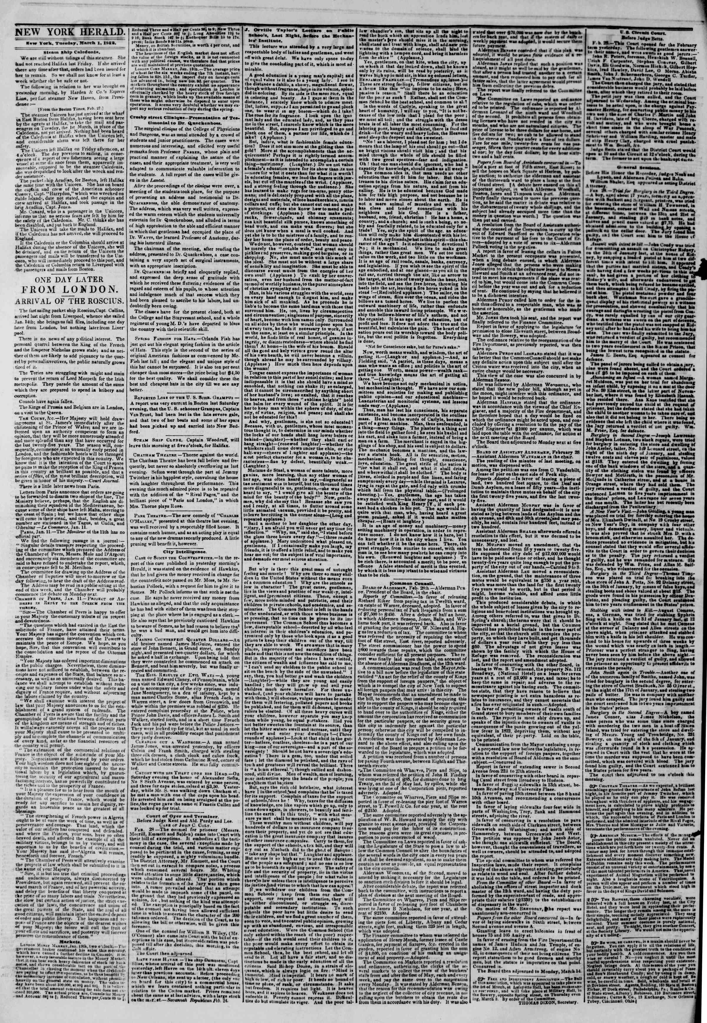 1 Mart 1842 tarihli The New York Herald Gazetesi Sayfa 2
