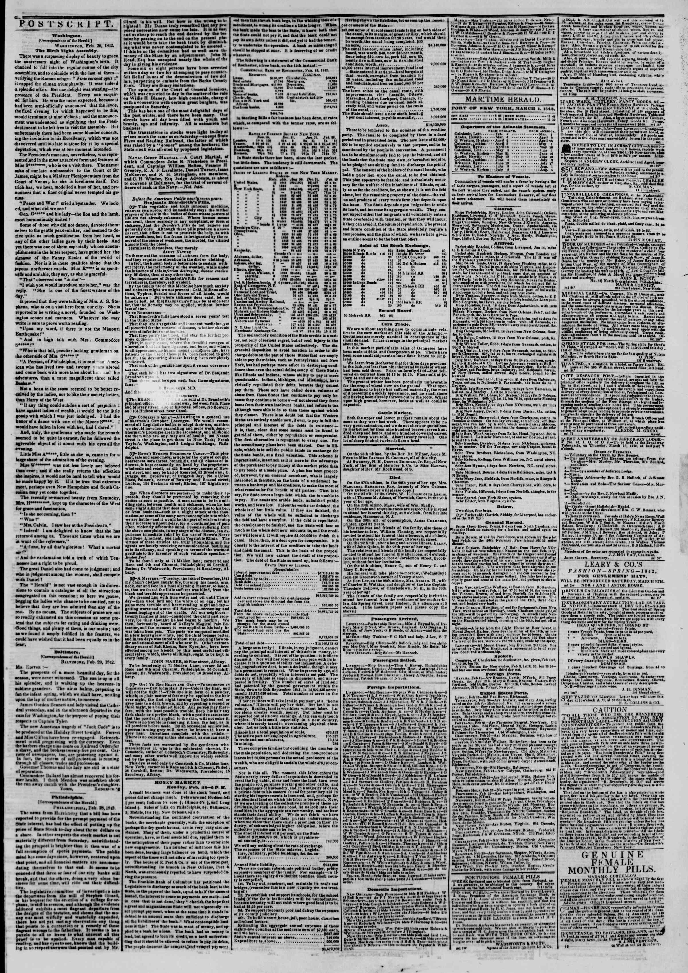 March 1, 1842 Tarihli The New York Herald Gazetesi Sayfa 3