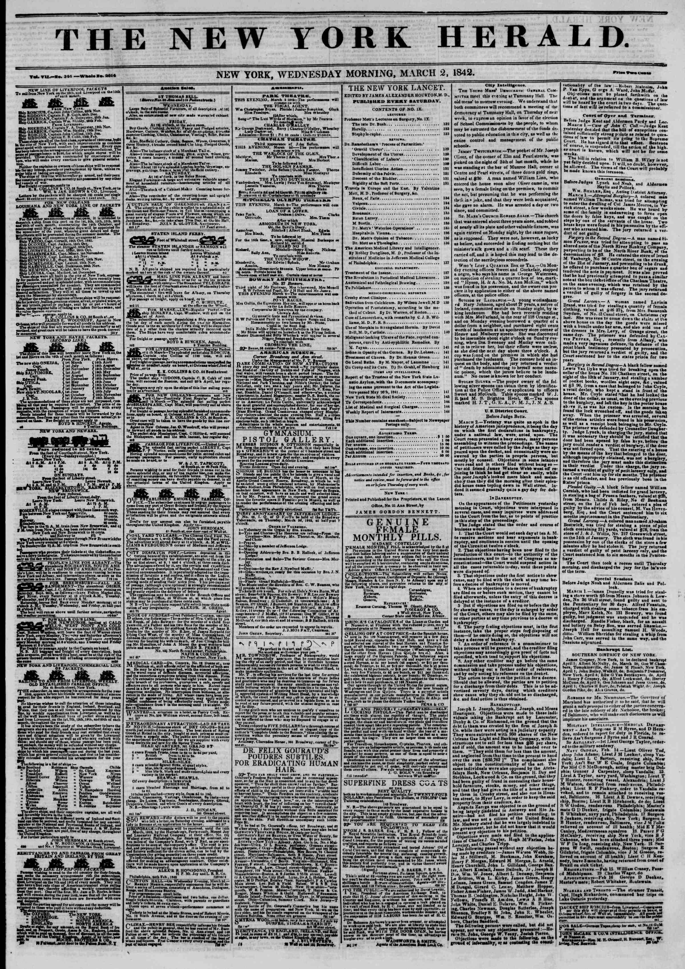 March 2, 1842 Tarihli The New York Herald Gazetesi Sayfa 1