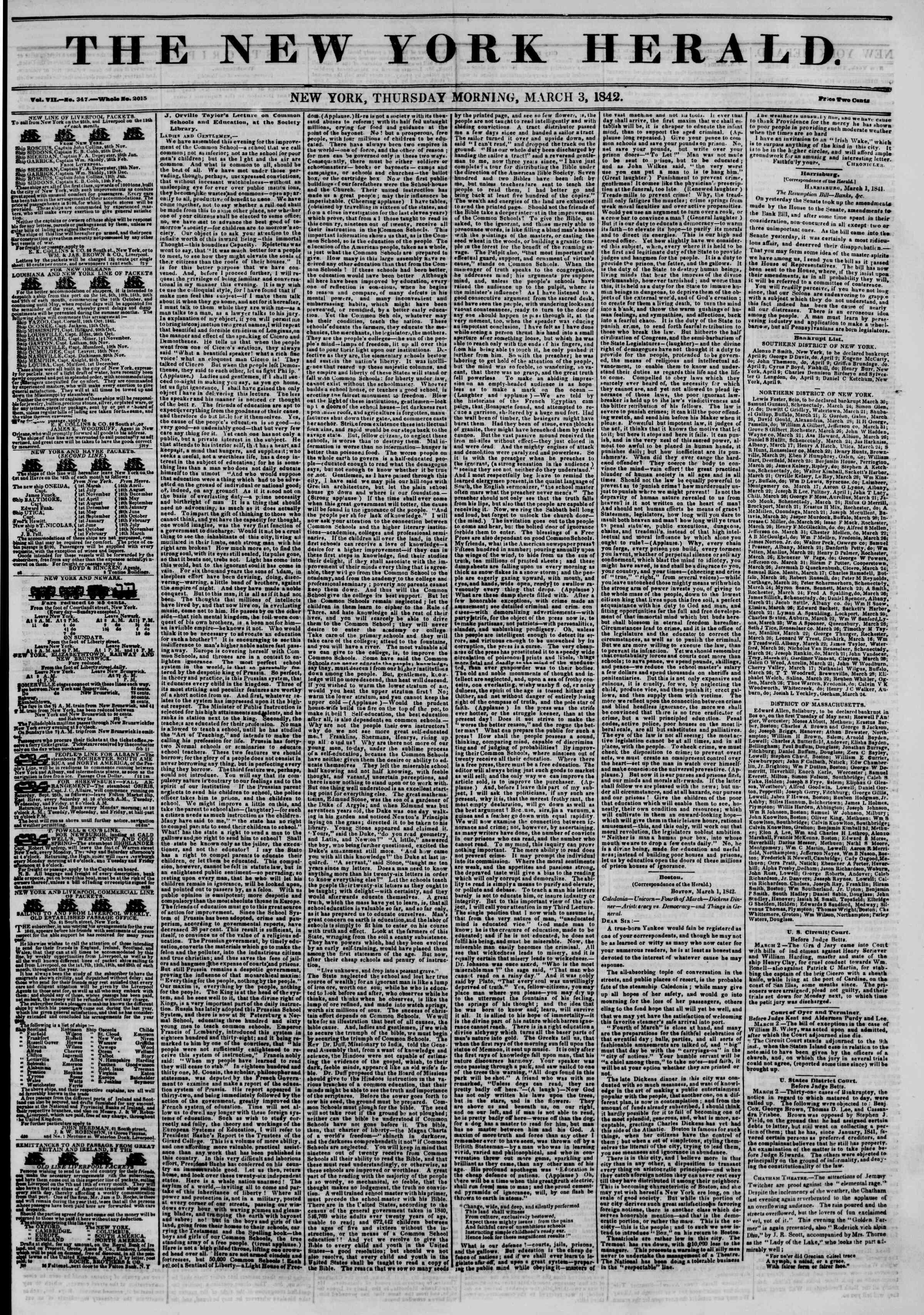 3 Mart 1842 Tarihli The New York Herald Gazetesi Sayfa 1