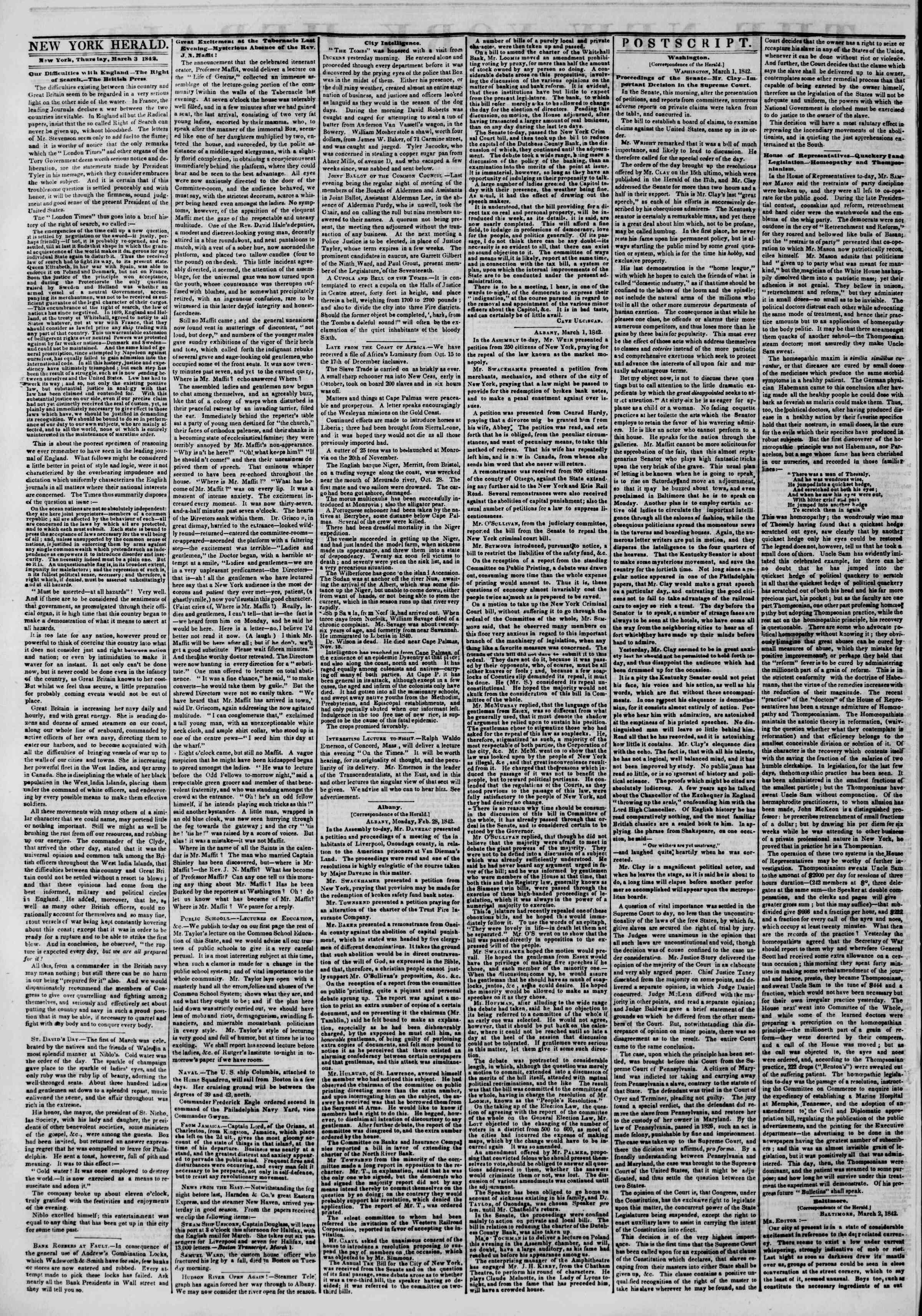 March 3, 1842 Tarihli The New York Herald Gazetesi Sayfa 2