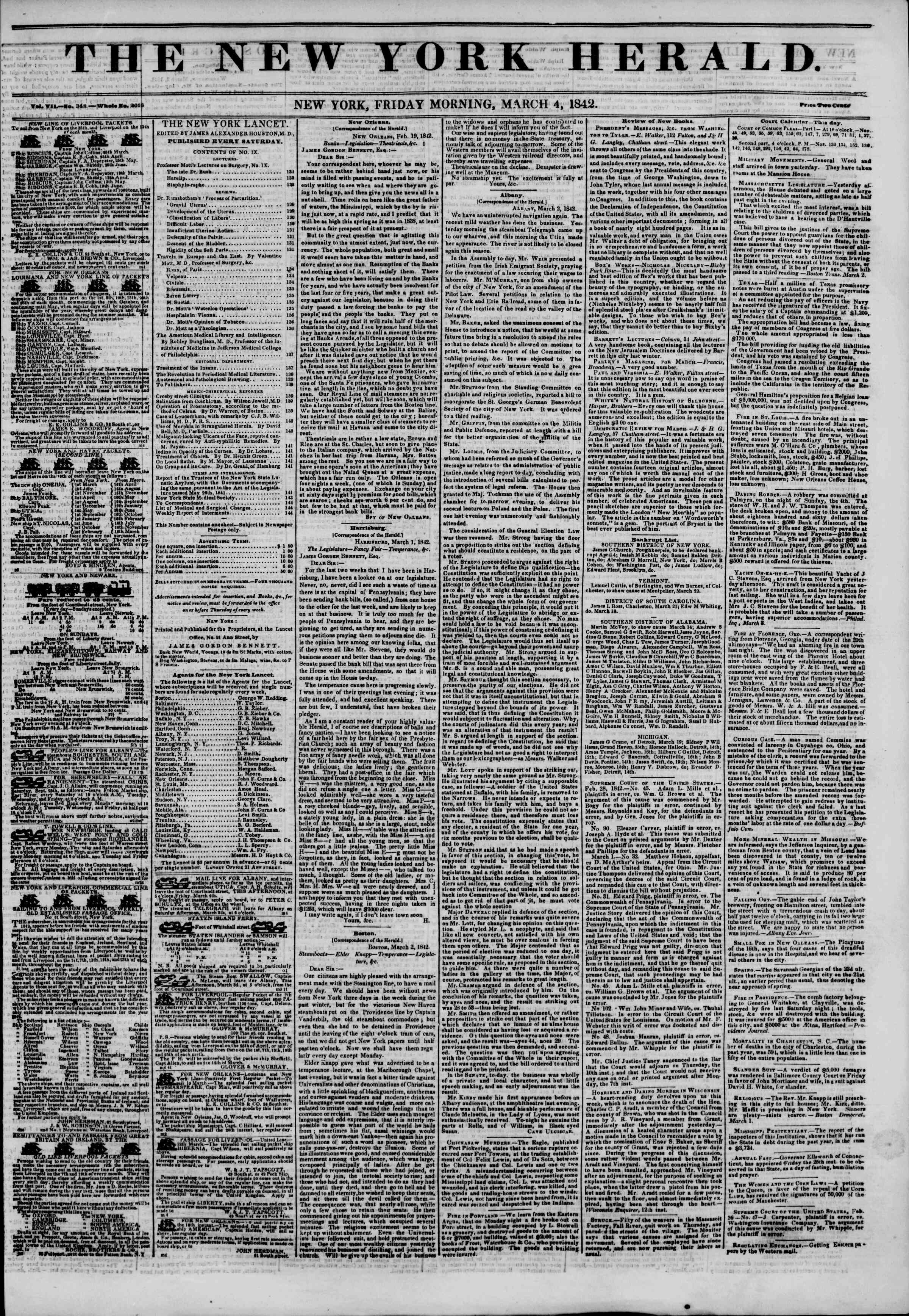 Newspaper of The New York Herald dated March 4, 1842 Page 1