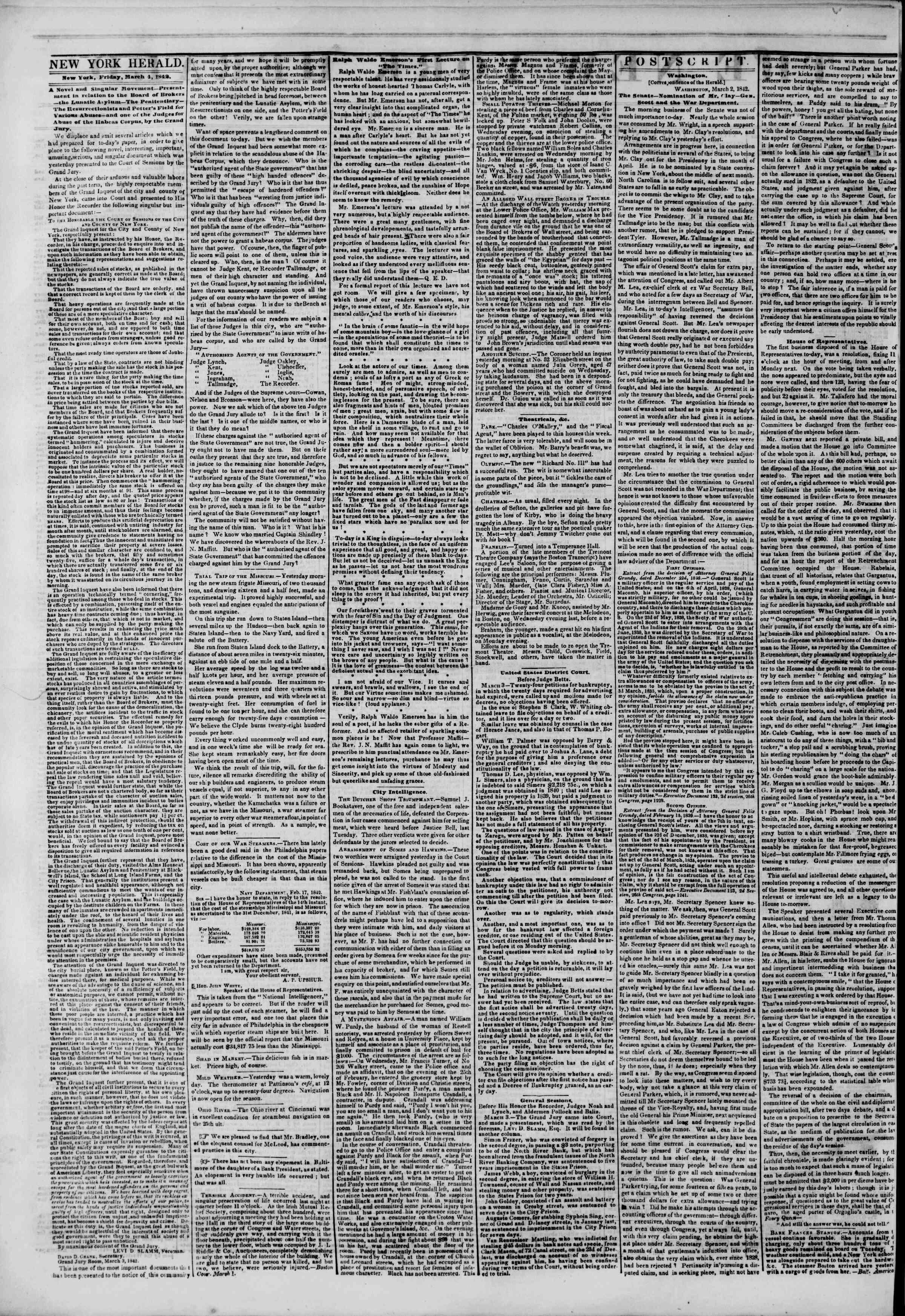 March 4, 1842 Tarihli The New York Herald Gazetesi Sayfa 2