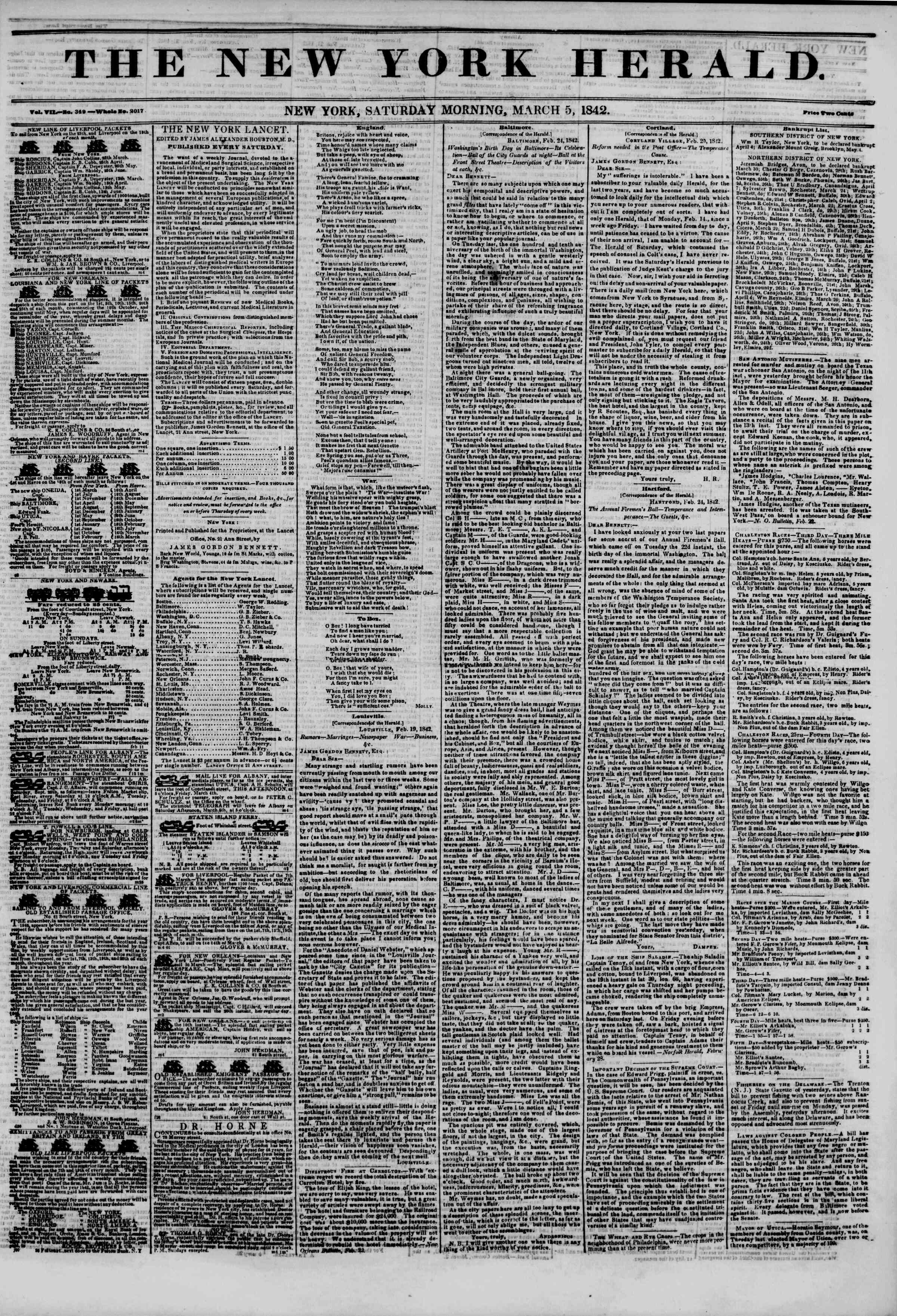 Newspaper of The New York Herald dated March 5, 1842 Page 1