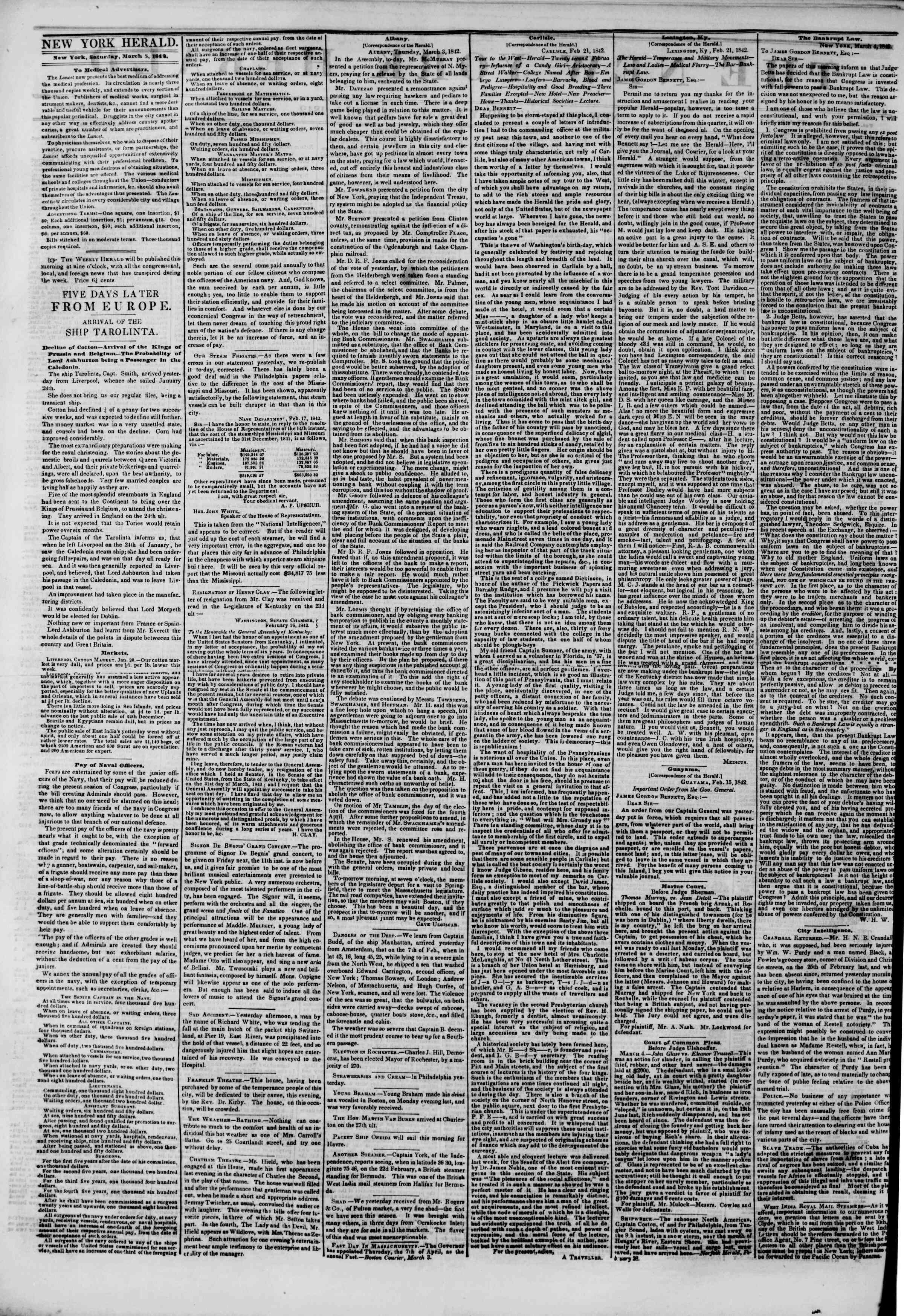 Newspaper of The New York Herald dated March 5, 1842 Page 2