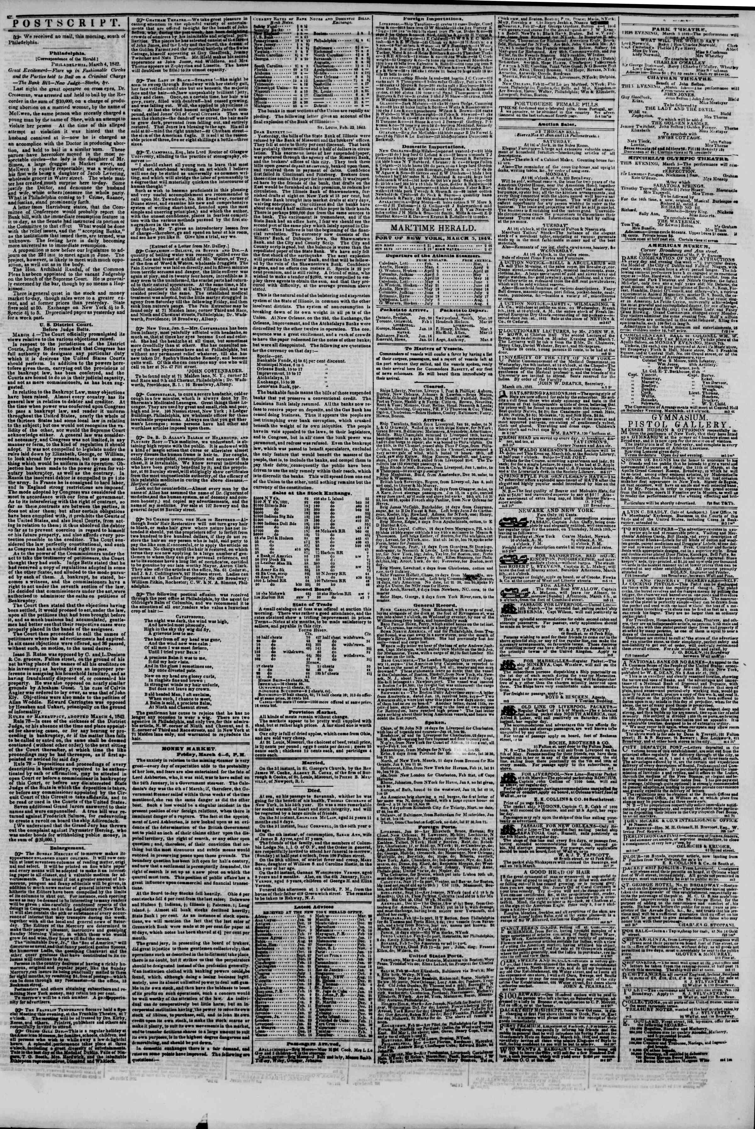 March 5, 1842 Tarihli The New York Herald Gazetesi Sayfa 3