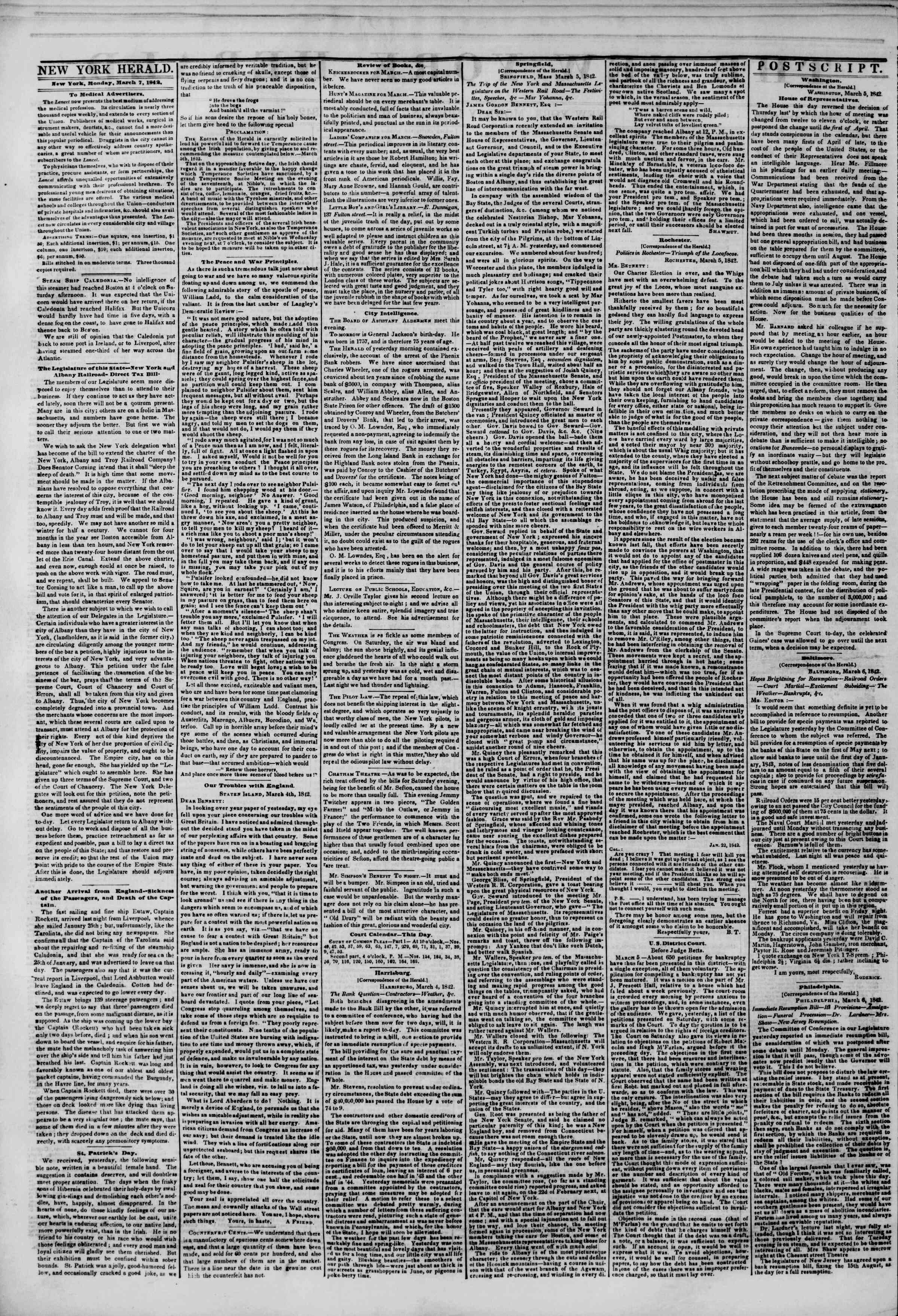 Newspaper of The New York Herald dated March 7, 1842 Page 2