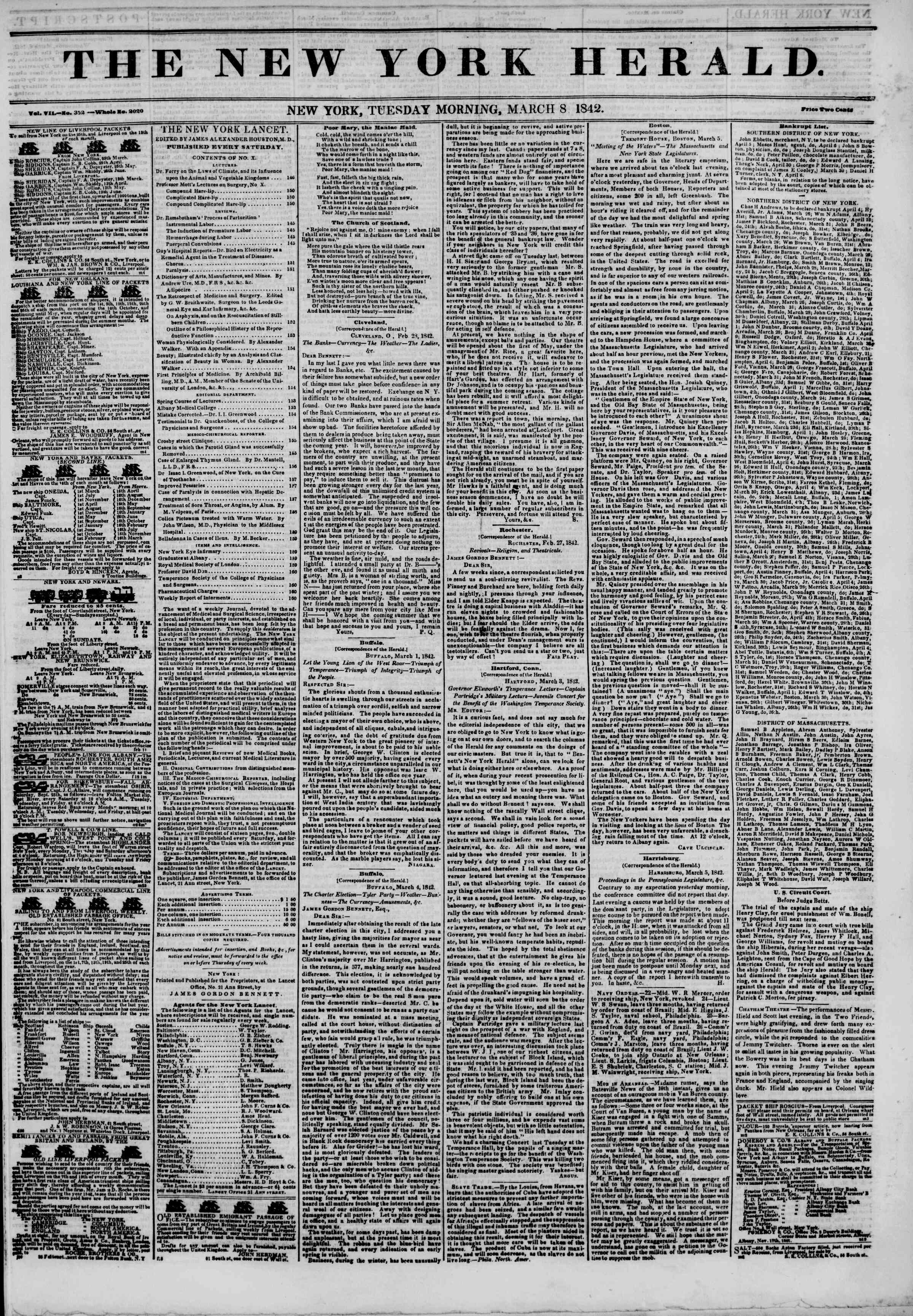 Newspaper of The New York Herald dated March 8, 1842 Page 1