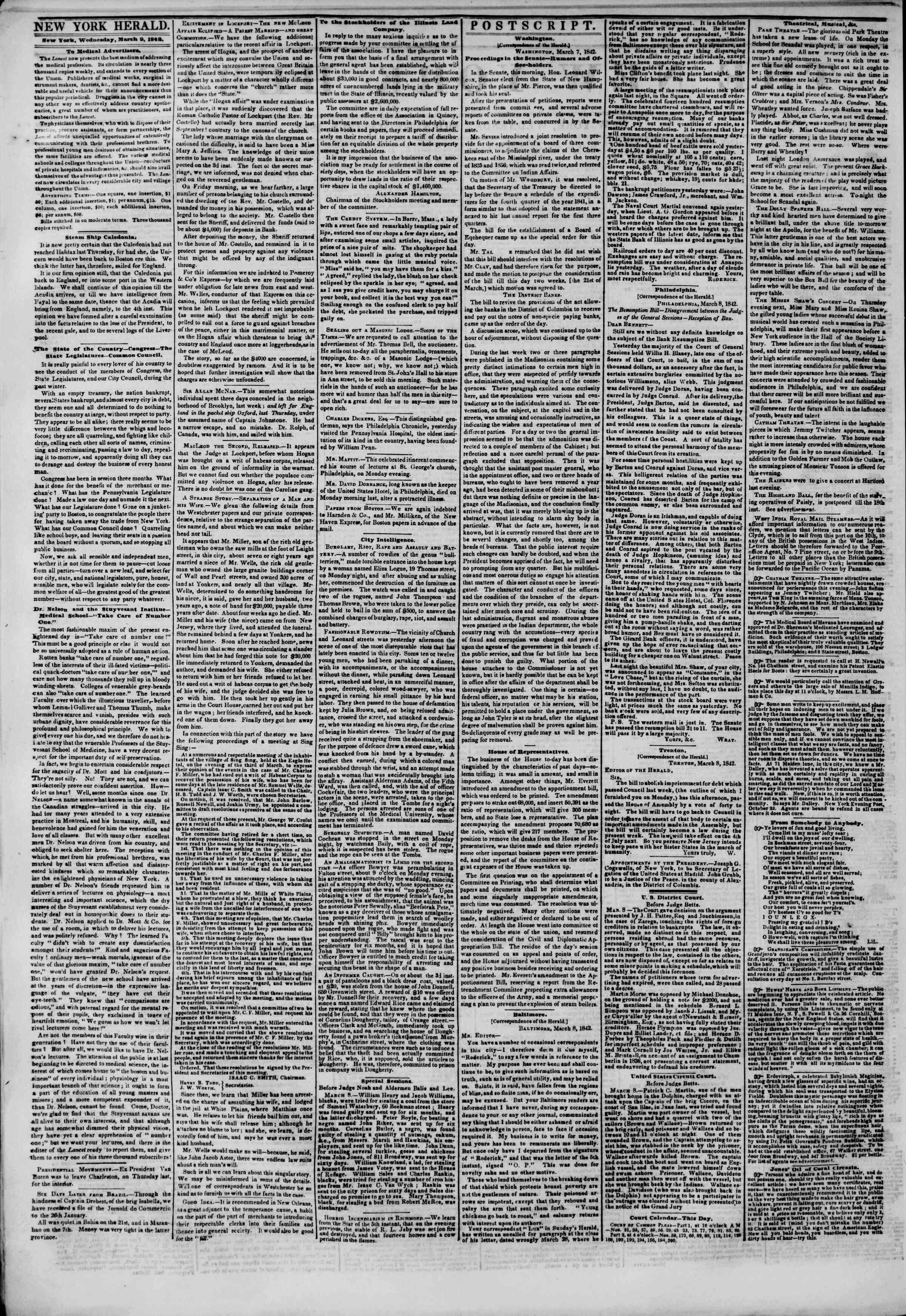 March 9, 1842 Tarihli The New York Herald Gazetesi Sayfa 2